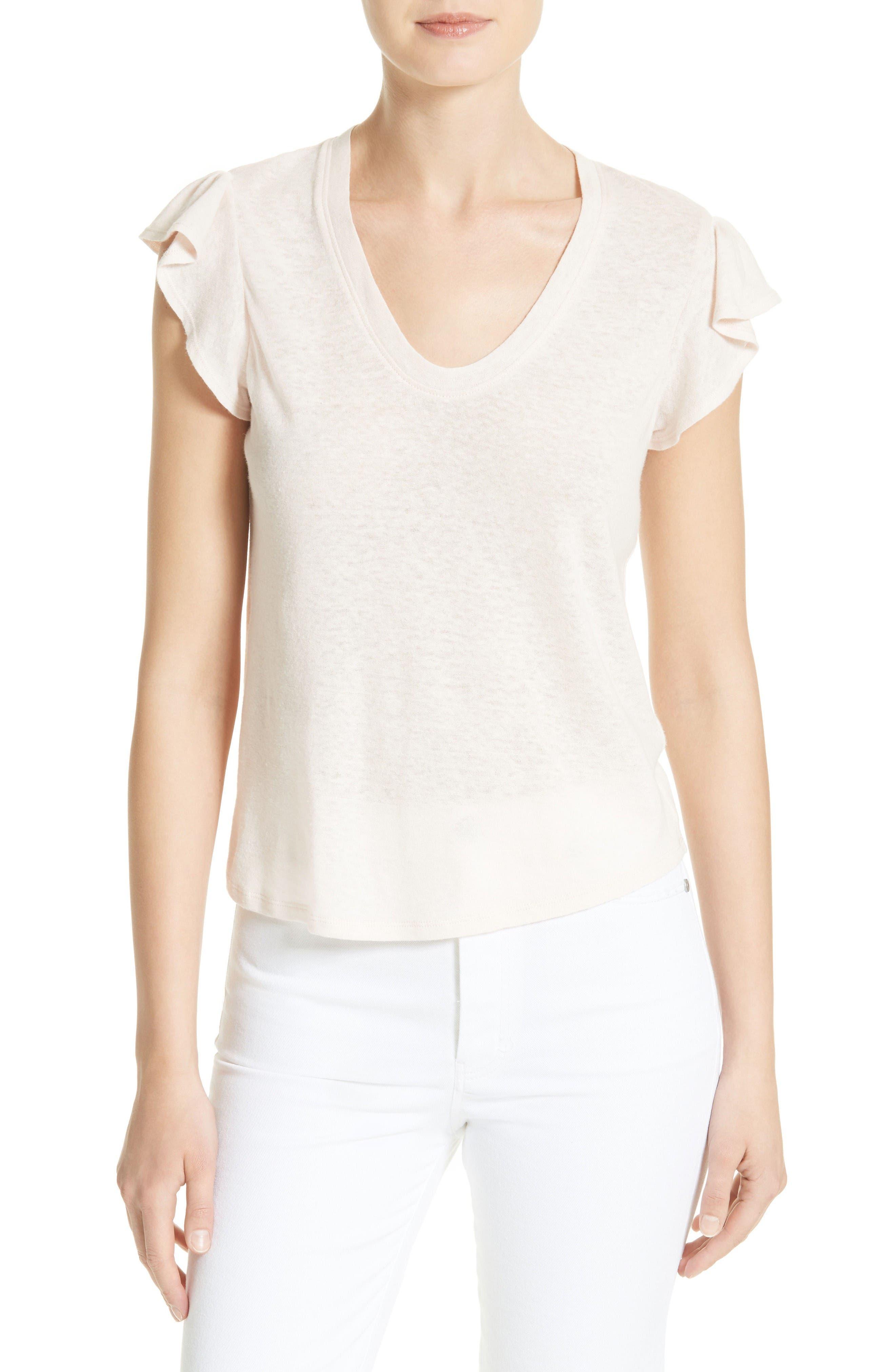 La Vie Rebecca Taylor Washed Linen & Cotton Jersey Top