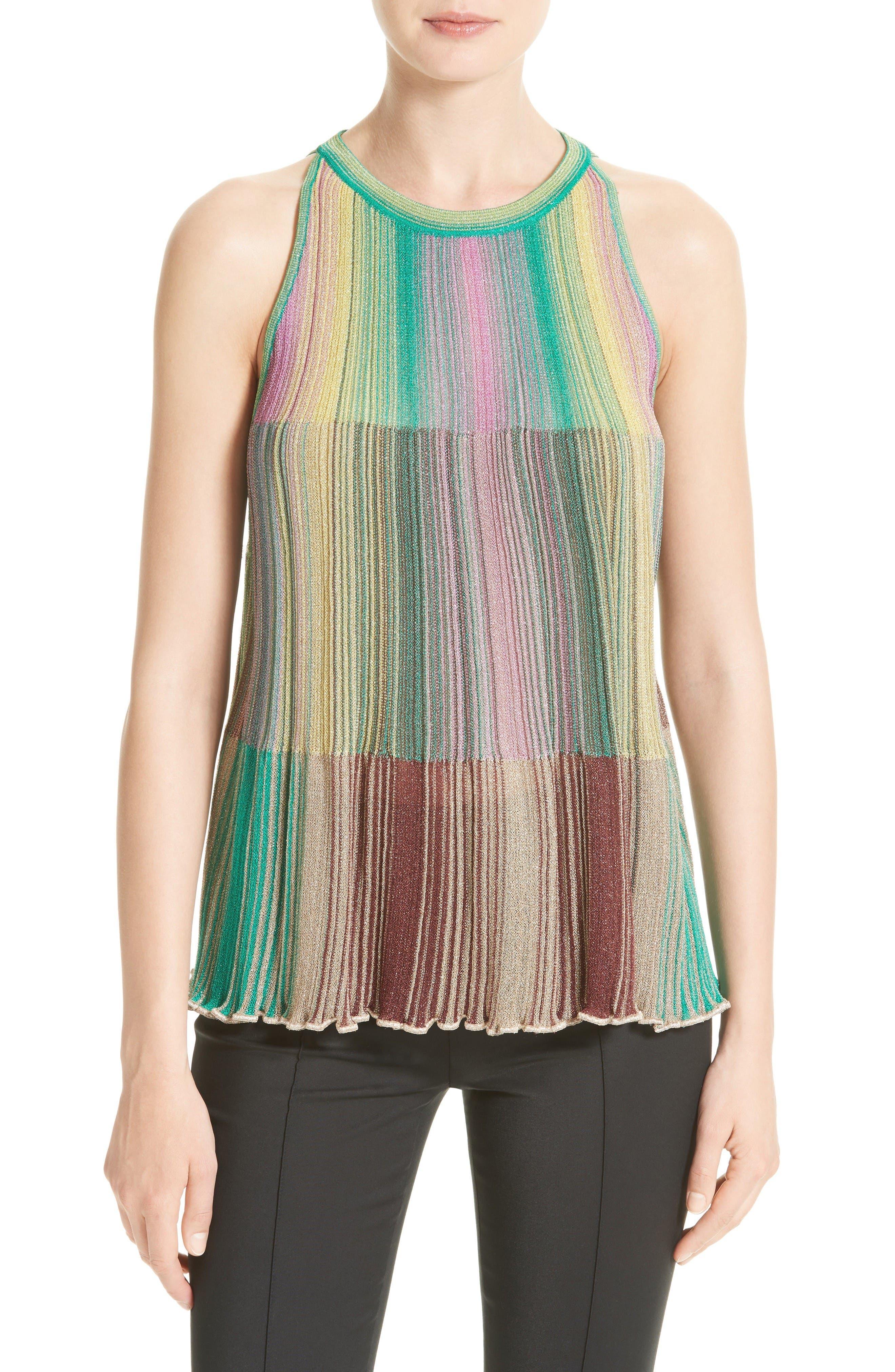 M MISSONI Multicolor Plissé Knit Top