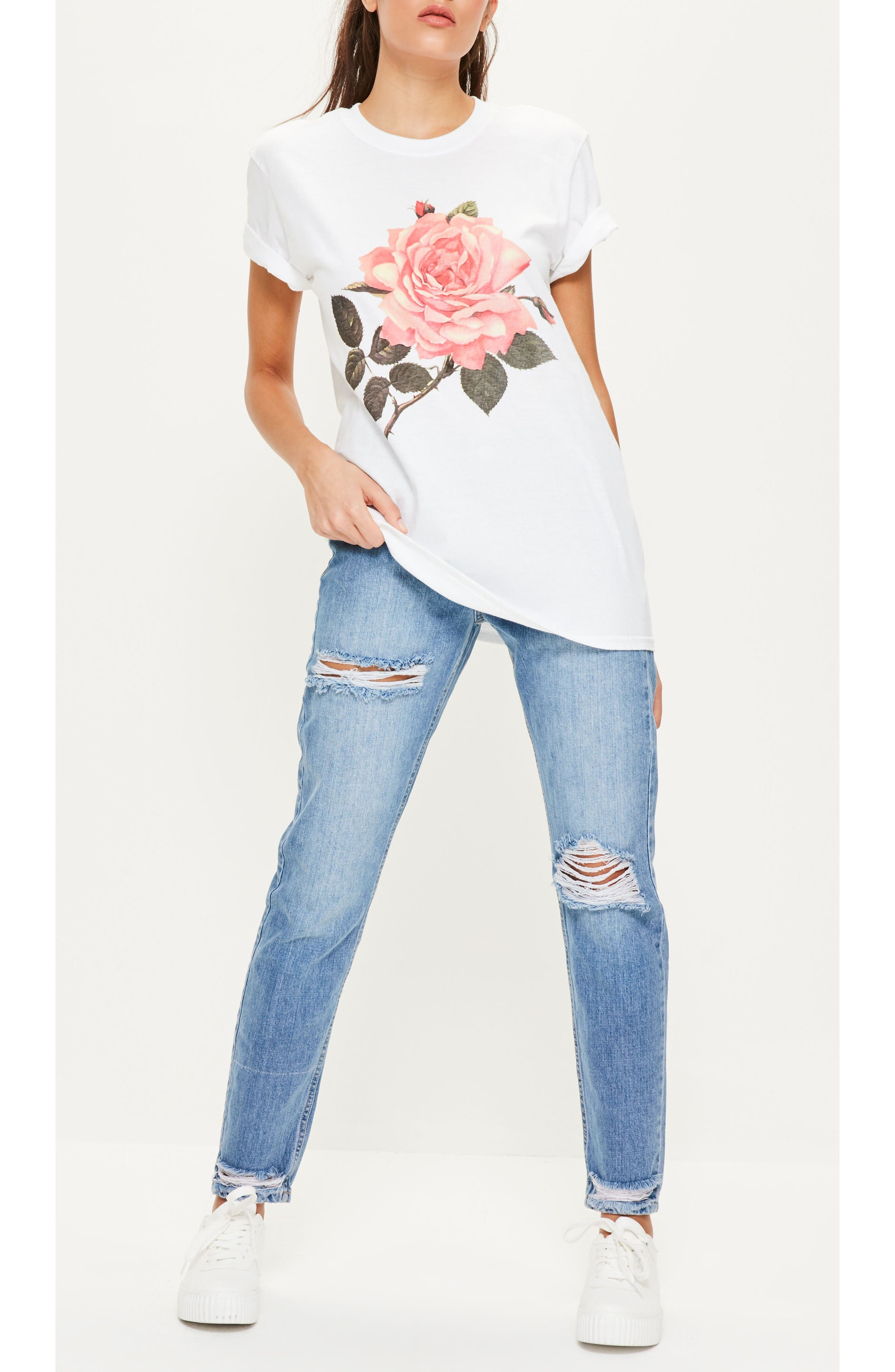 Alternate Image 2  - Missguided Floral Print Graphic Tee
