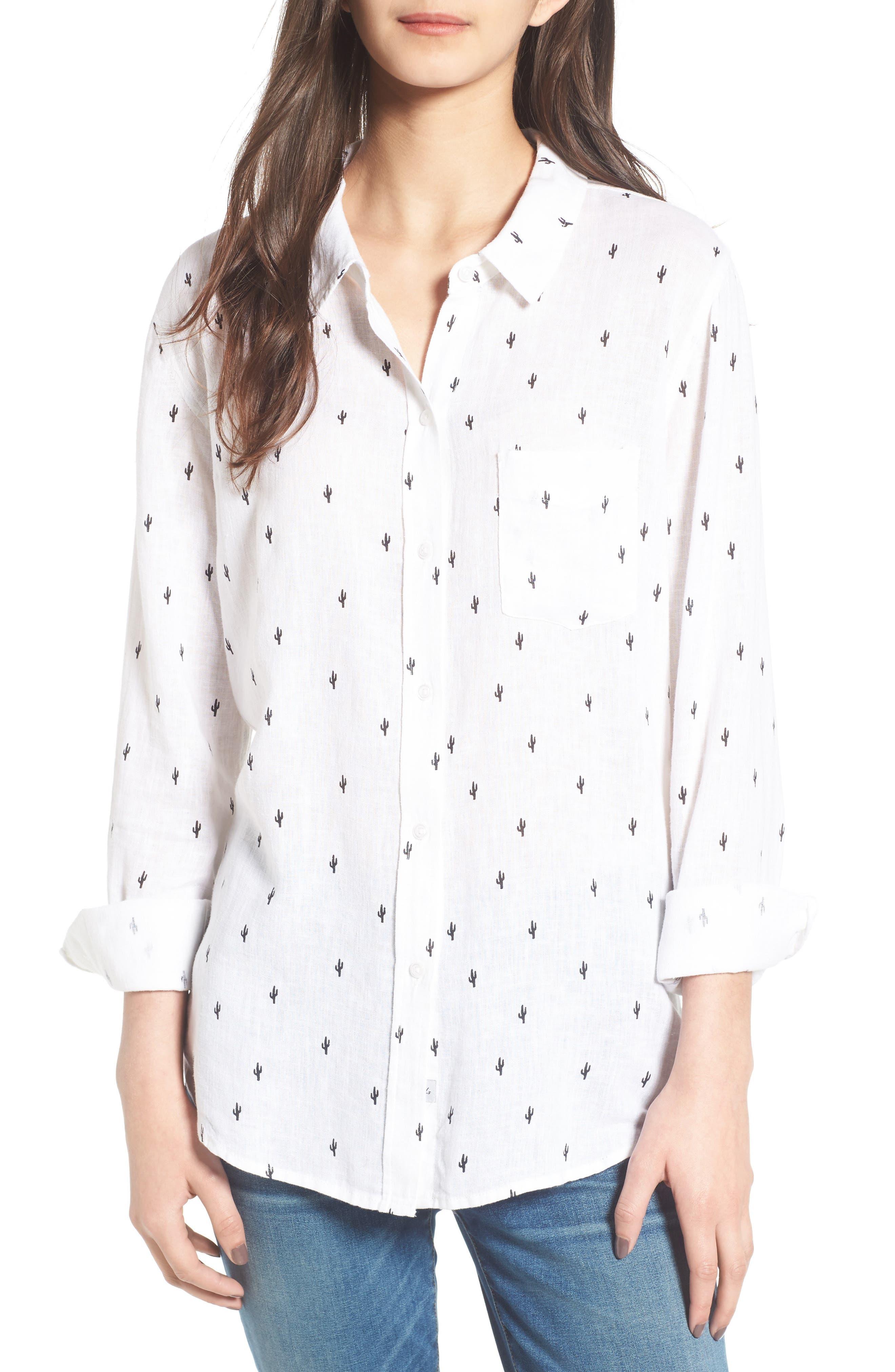 Rails Charli Cactus Print Linen Blend Shirt
