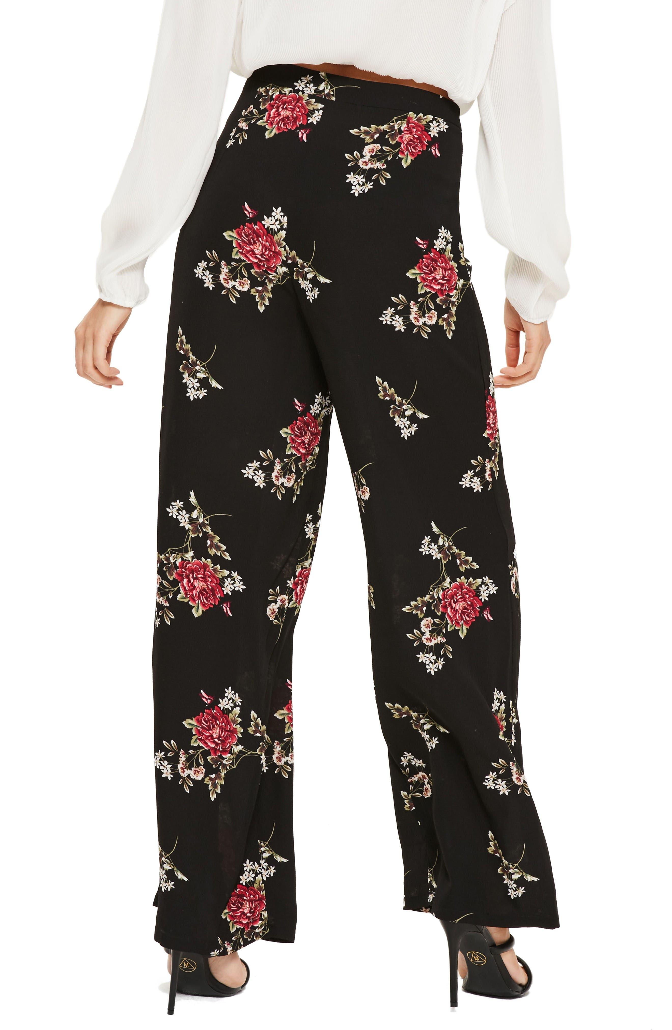 Alternate Image 2  - Missguided Wide Leg Floral Print Pants