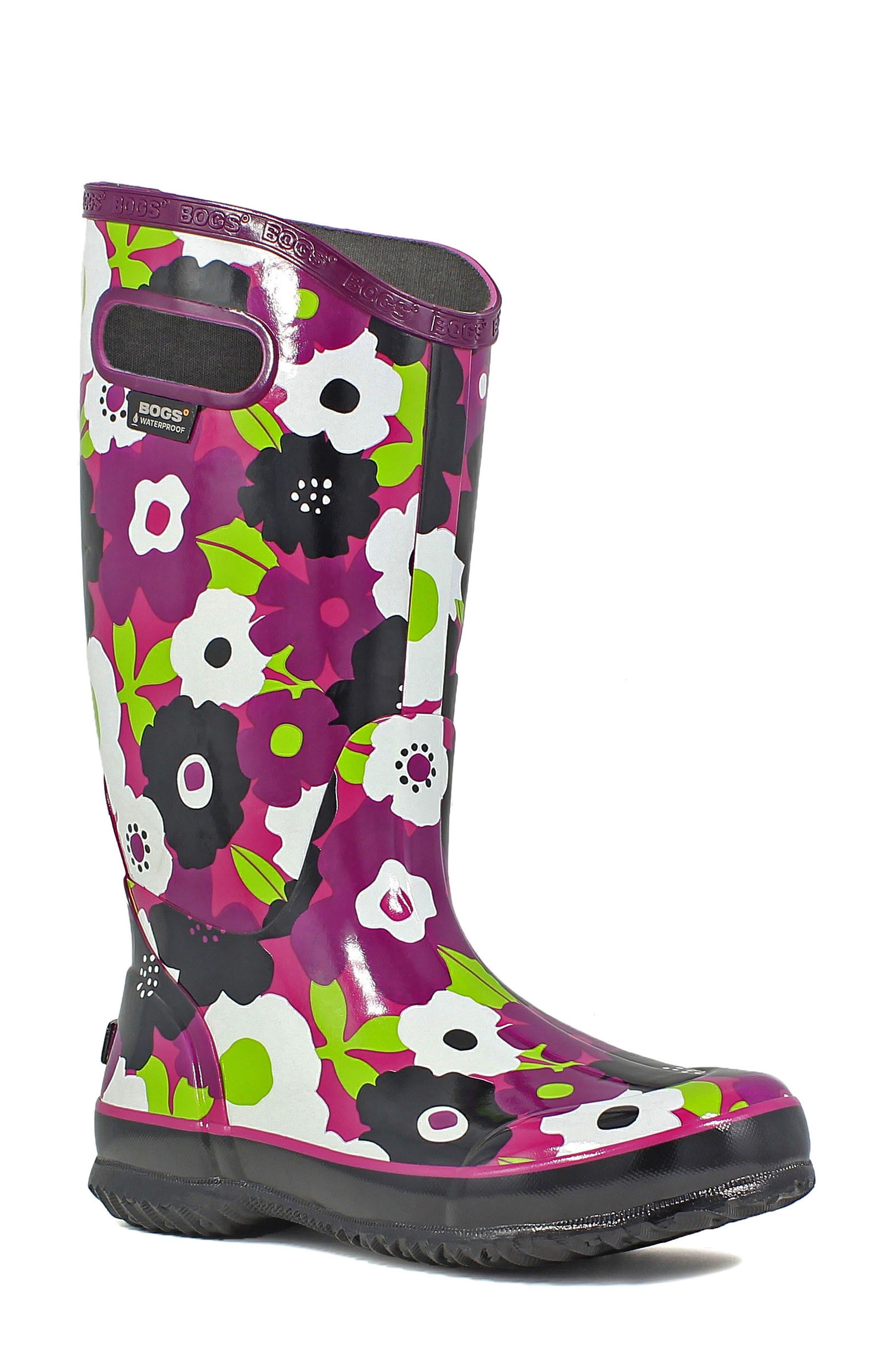 BOGS 'Spring Flowers' Graphic Print Waterproof Rain Boot