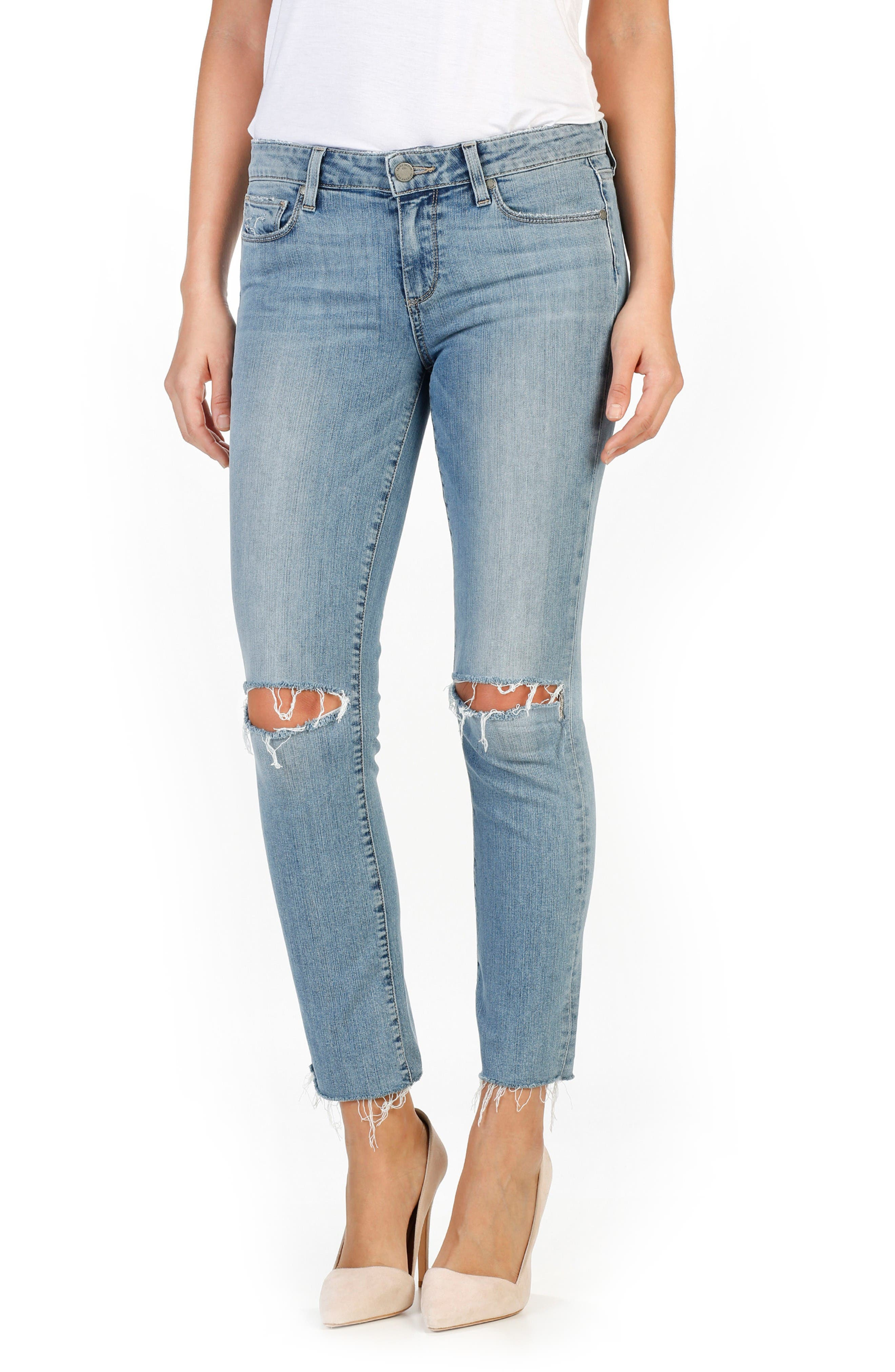 Alternate Image 1 Selected - PAIGE Miki Ankle Straight Leg Jeans (Bella Destructed)