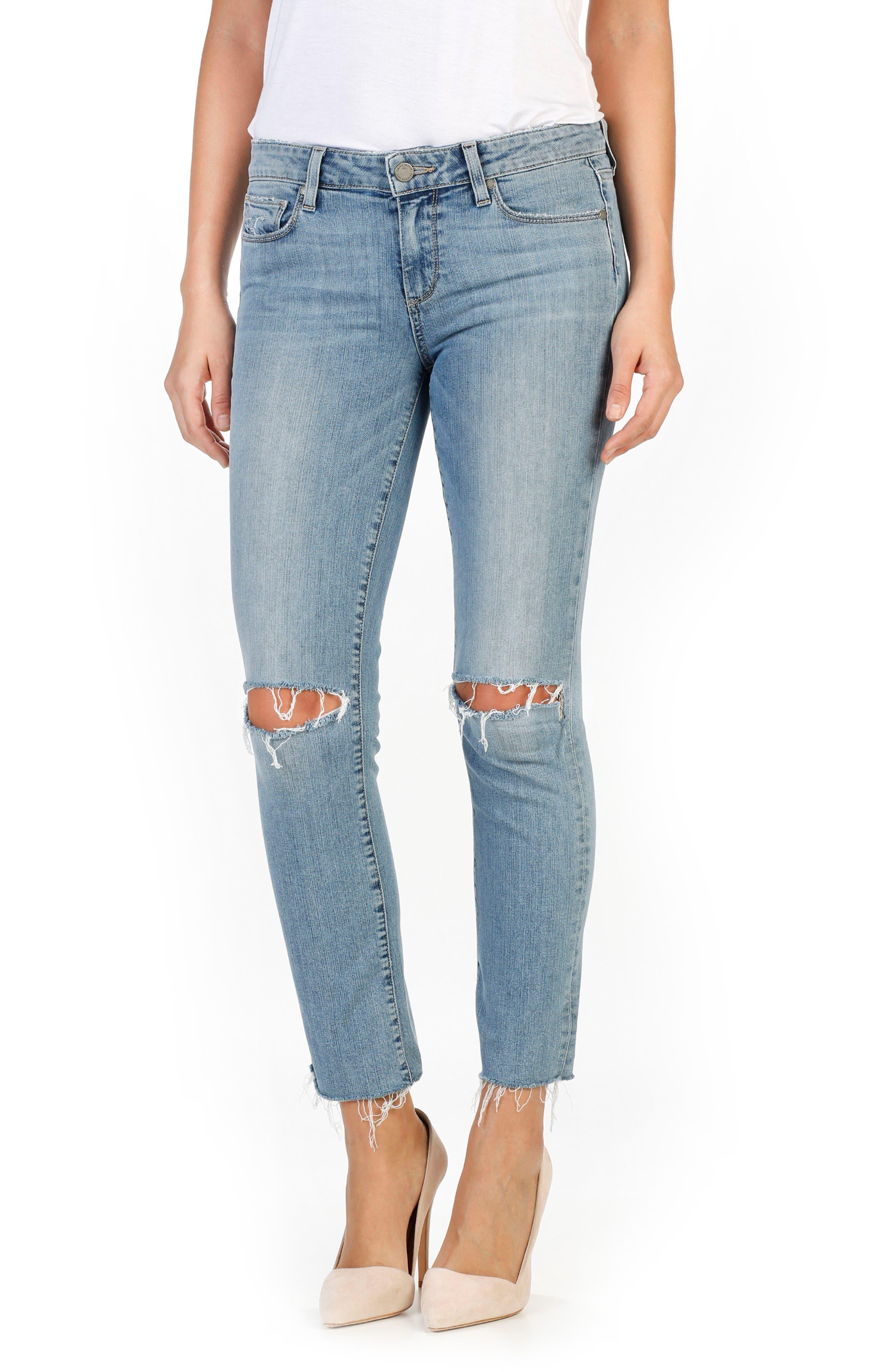 Main Image - PAIGE Miki Ankle Straight Leg Jeans (Bella Destructed)