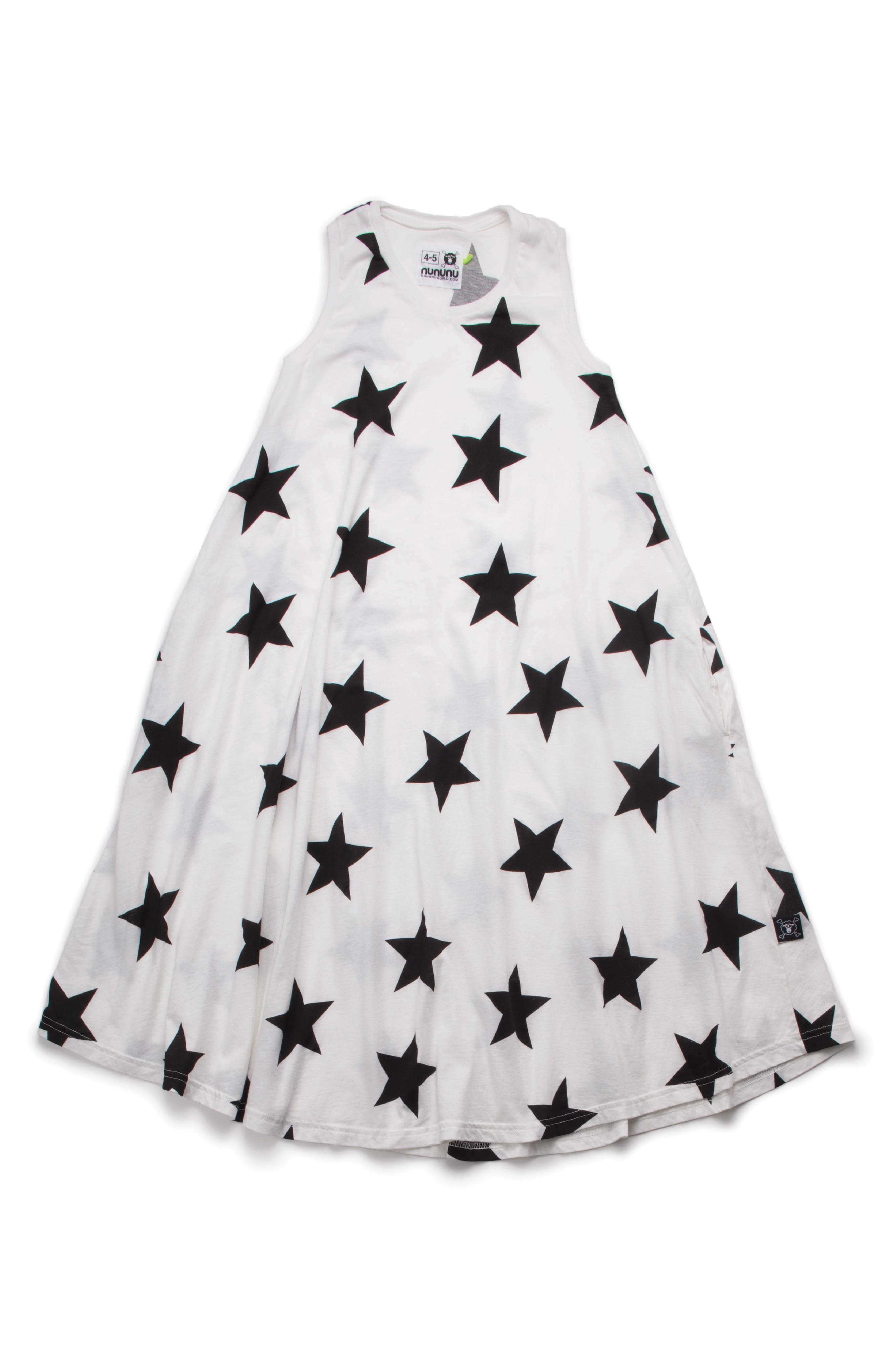 Alternate Image 1 Selected - NUNUNU Star Trapeze Dress (Toddler Girls & Little Girls)