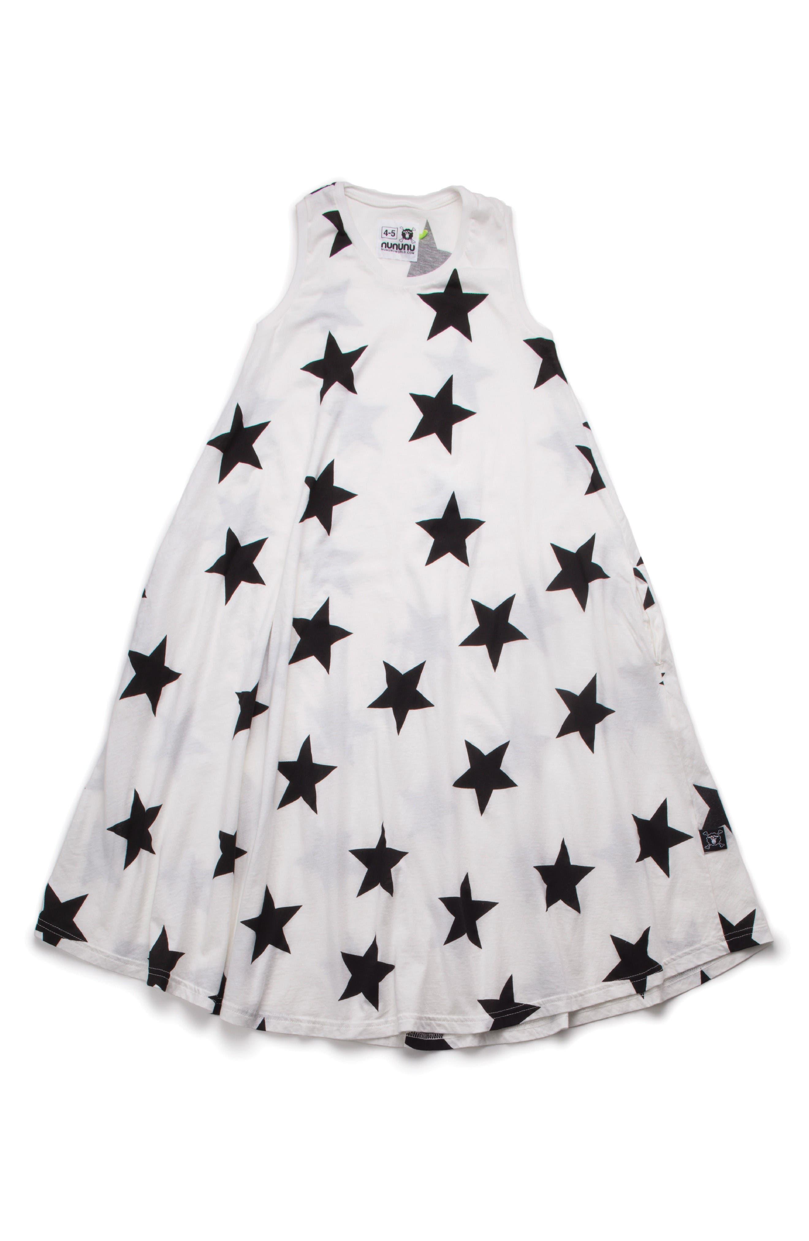 Main Image - NUNUNU Star Trapeze Dress (Toddler Girls & Little Girls)