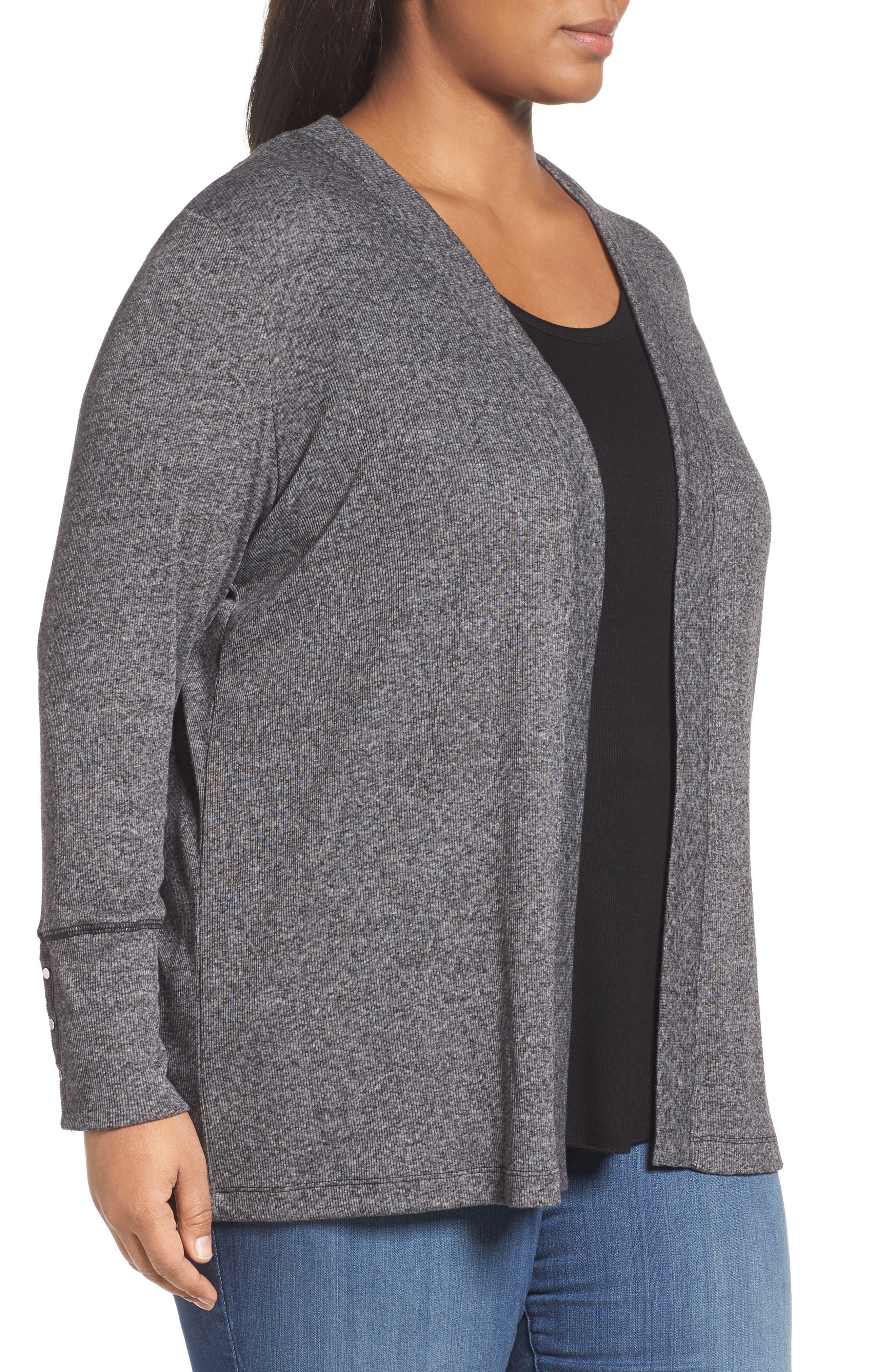 Alternate Image 3  - MICHAEL Michael Kors Marled Open Cardigan (Plus Size)