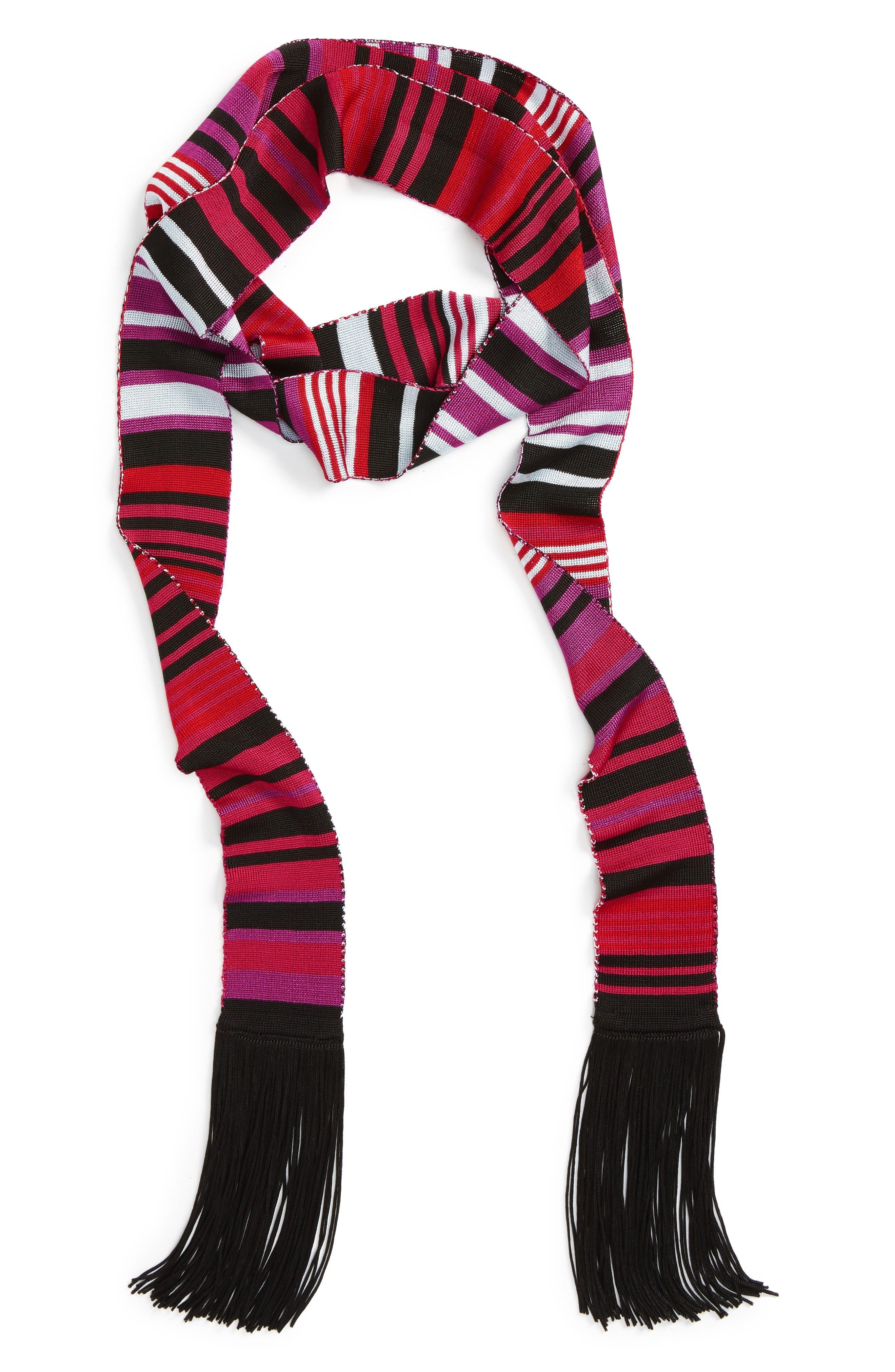 Main Image - Halogen® Stripe Fringe Skinny Scarf