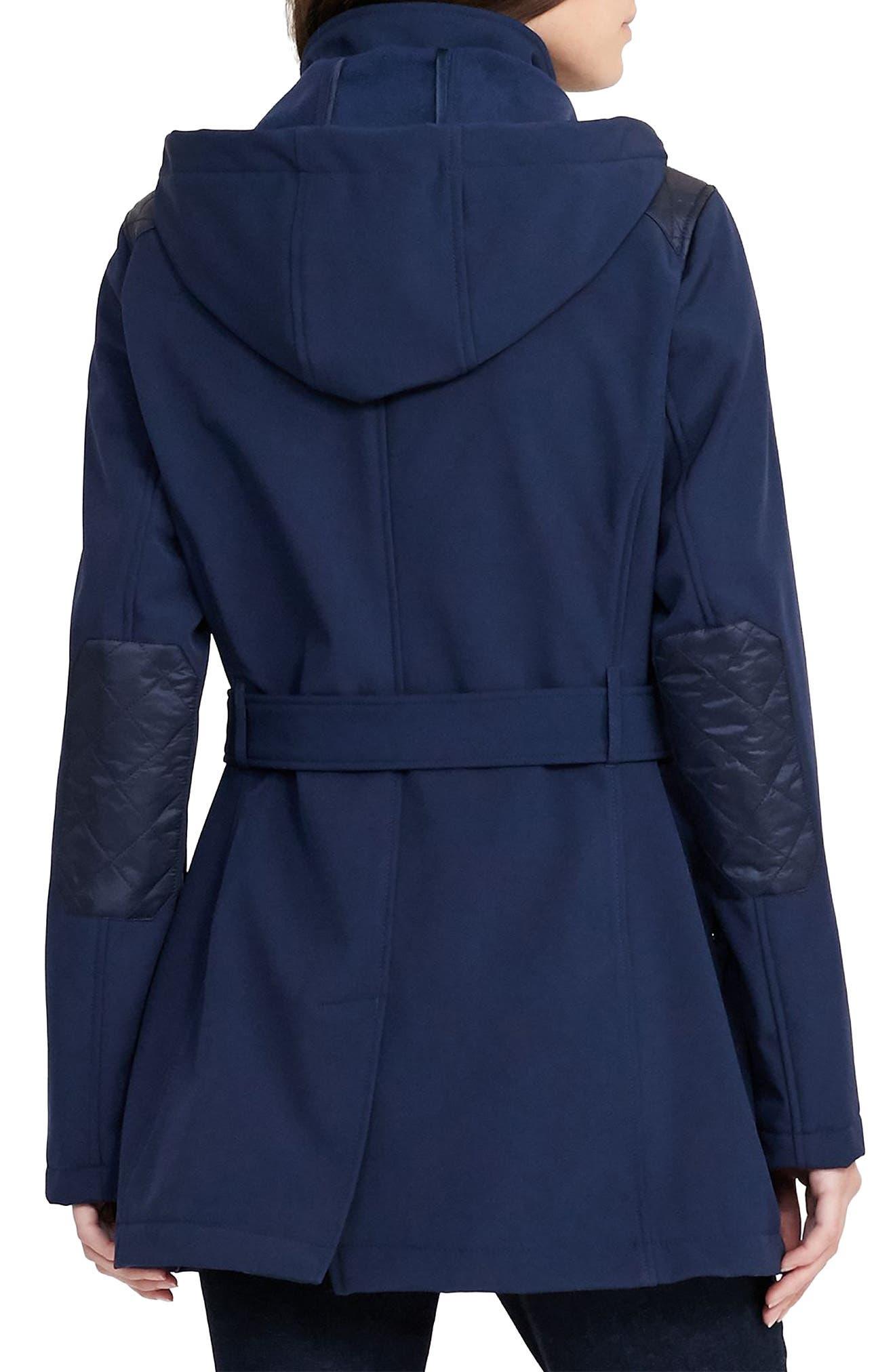 Alternate Image 2  - Lauren Ralph Lauren Belted Hooded Soft Shell Jacket