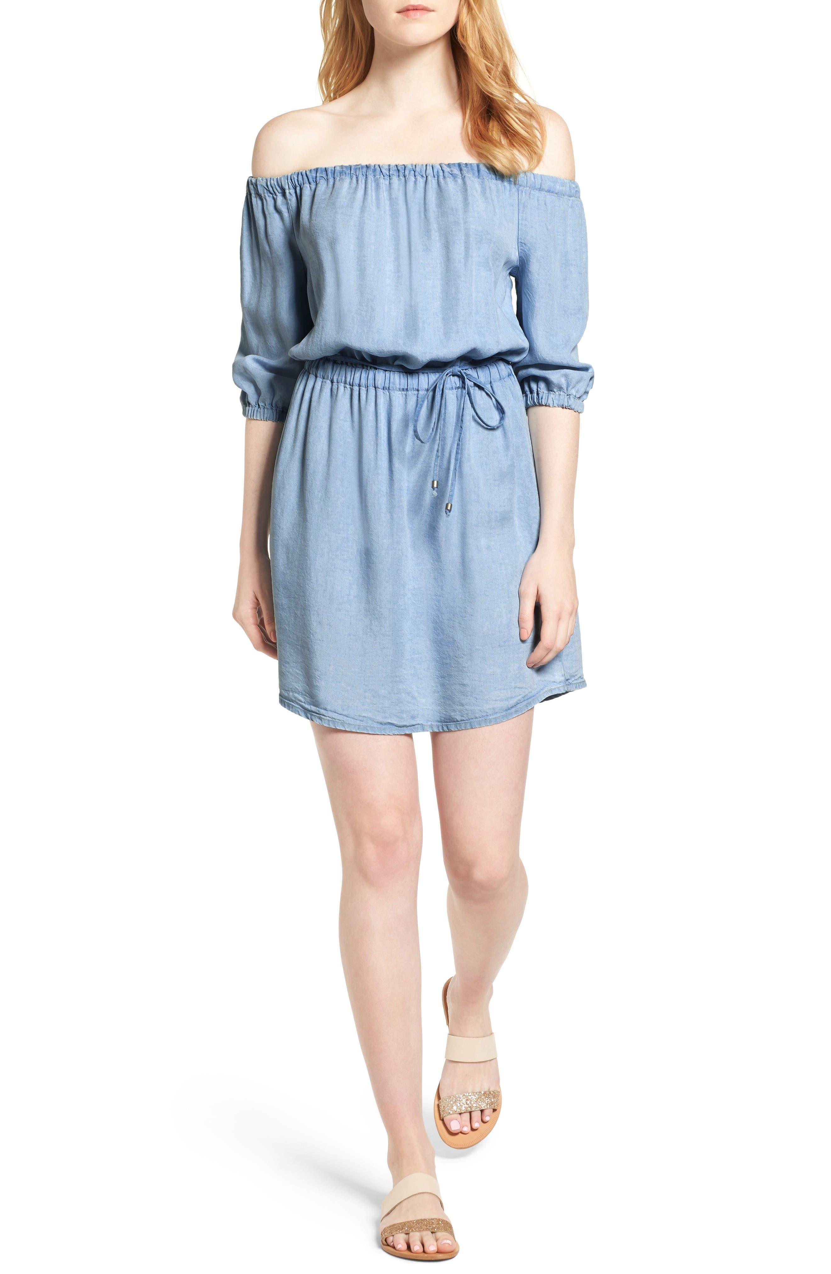 Alternate Image 1 Selected - Splendid Off the Shoulder Blouson Dress