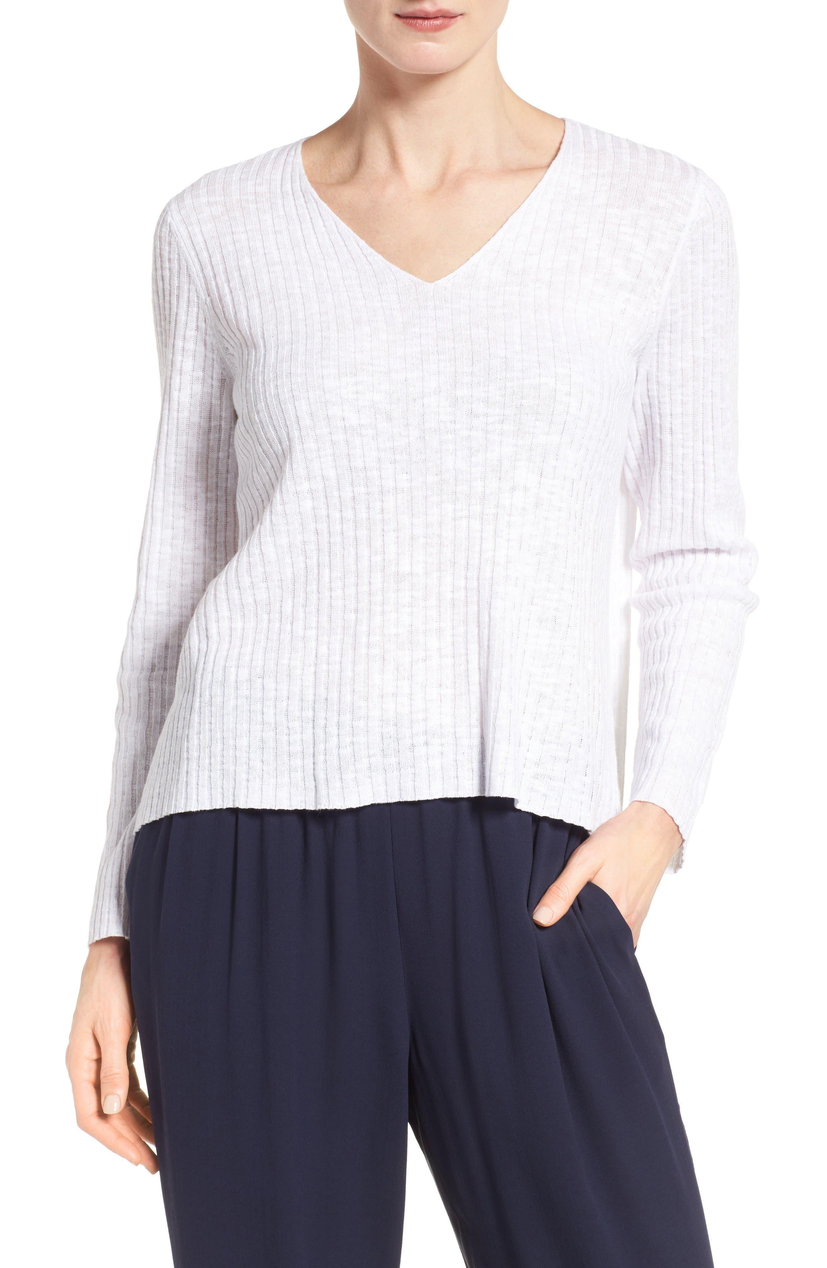 Eileen Fisher Organic Linen & Cotton V-Neck Sweater