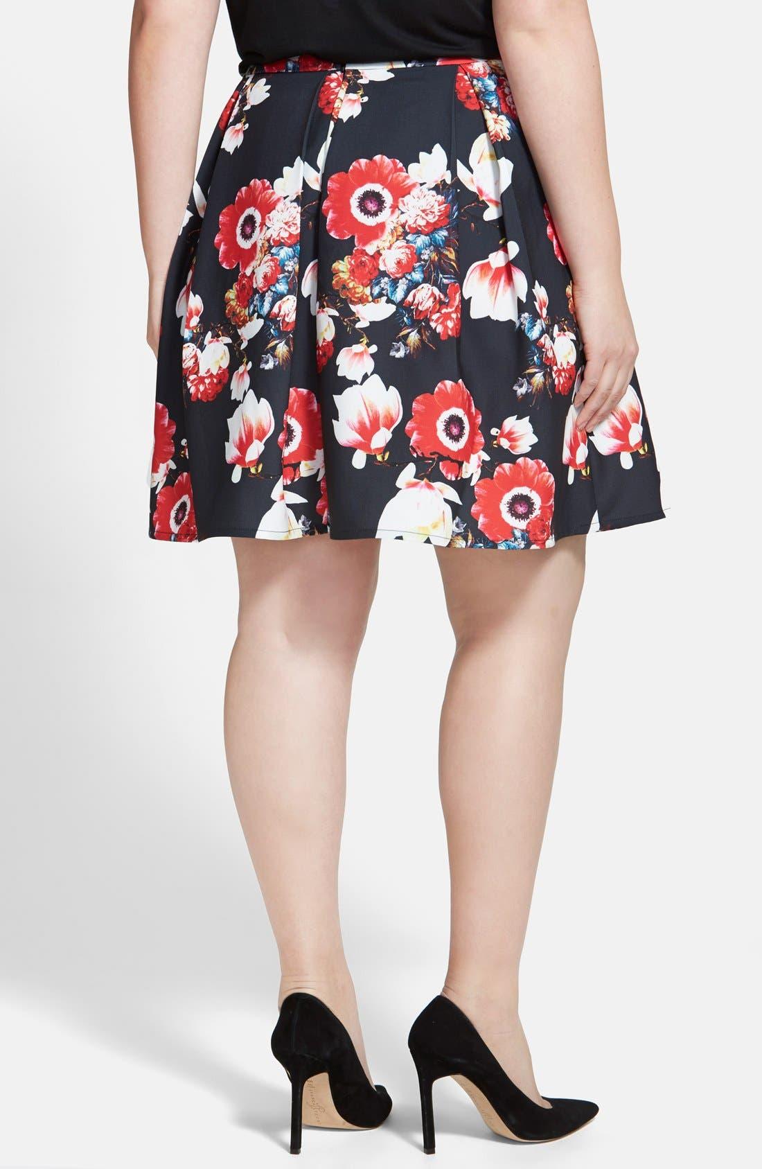 Alternate Image 2  - City Chic 'Beautiful Bloom' Pleat Circle Skirt (Plus Size)