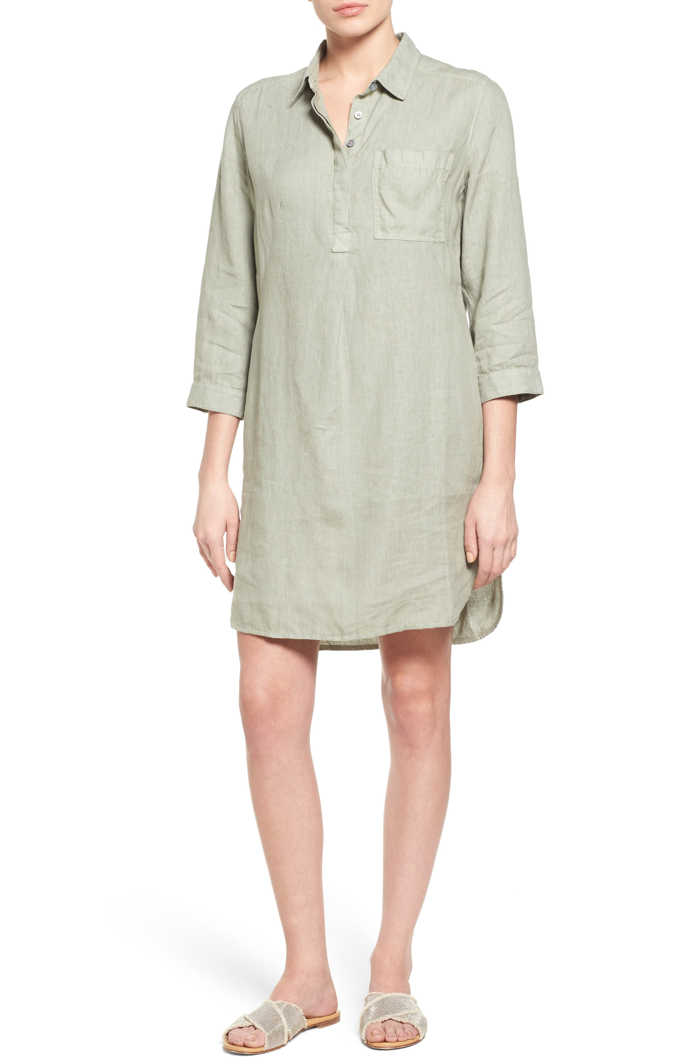 Caslon® Linen Shirtdress (Regular & Petite)