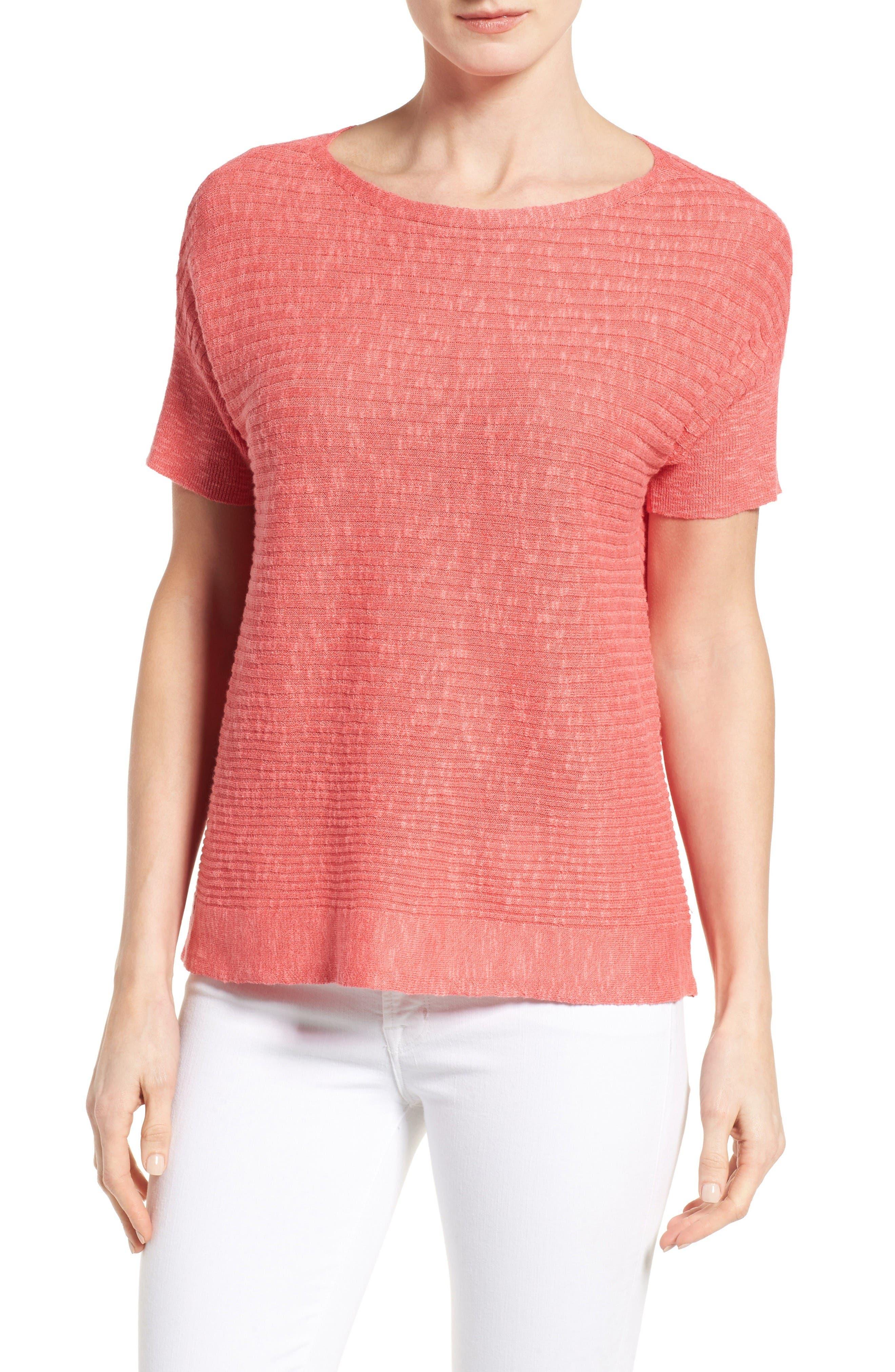 Eileen Fisher Organic Linen & Cotton Boxy Sweater (Regular & Petite)