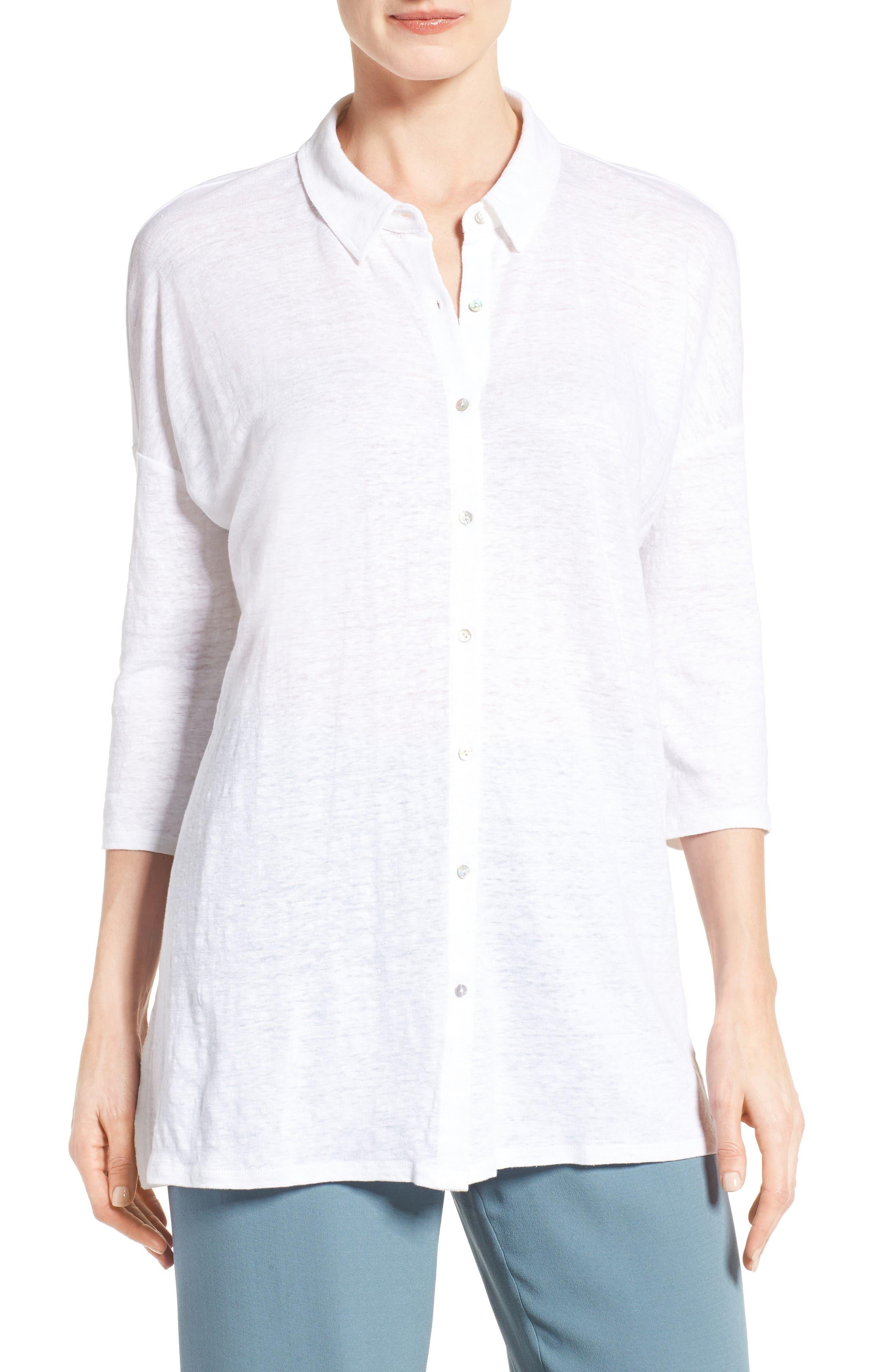 Eileen Fisher Classic Collar Linen Jersey Tunic