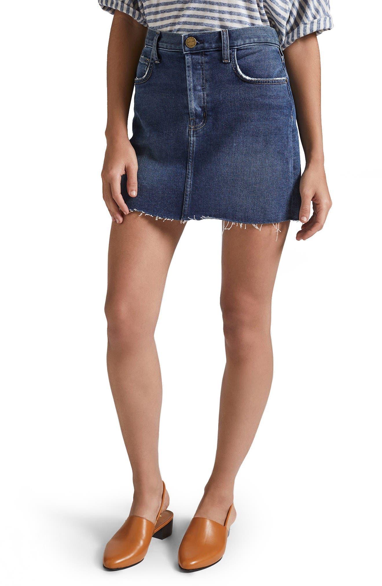 Current/Elliott The Mini Cutoff Denim Miniskirt (Reese)