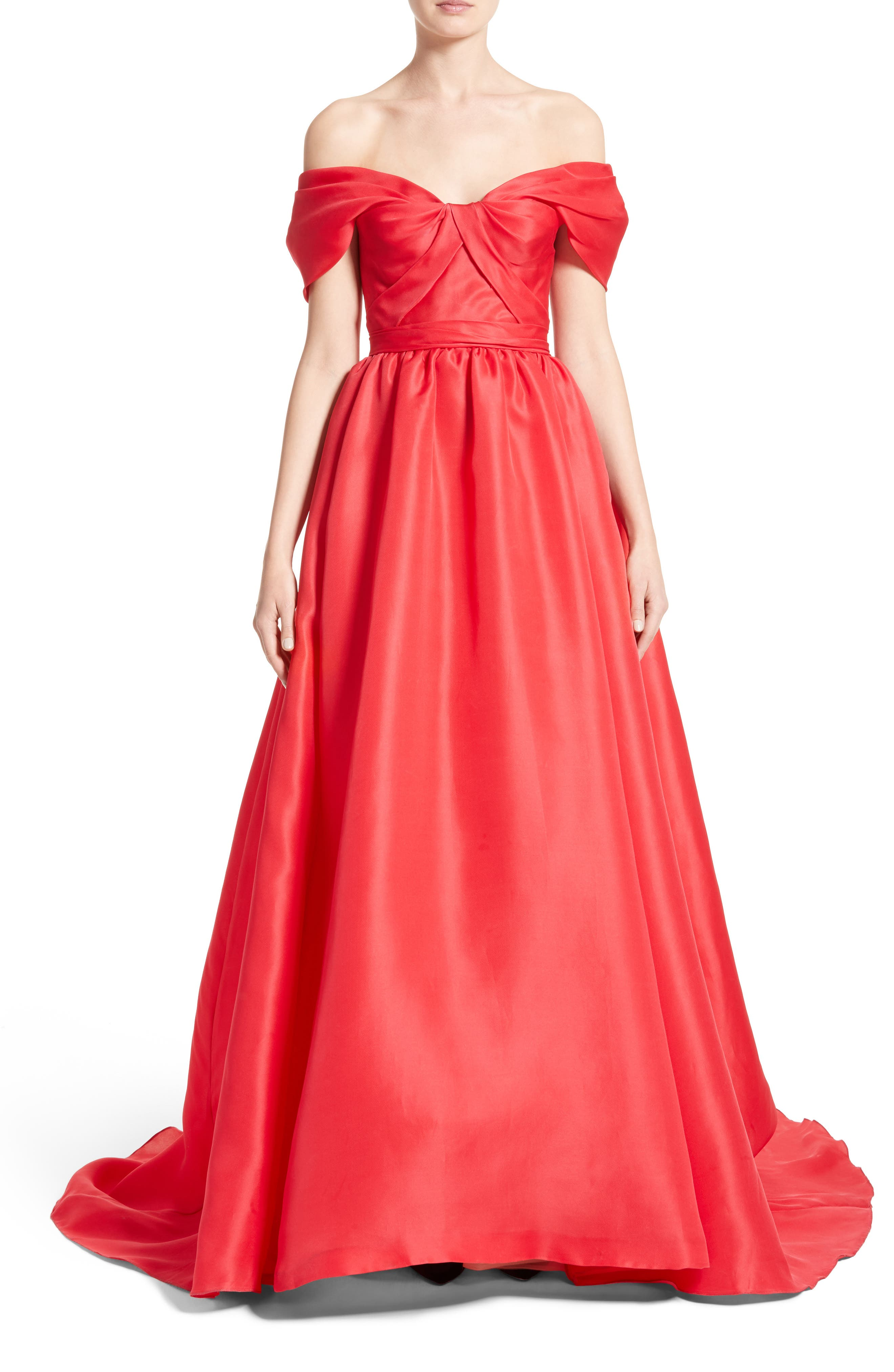 MARCHESA Silk Gazar Sculpted Off the Shoulder Gown