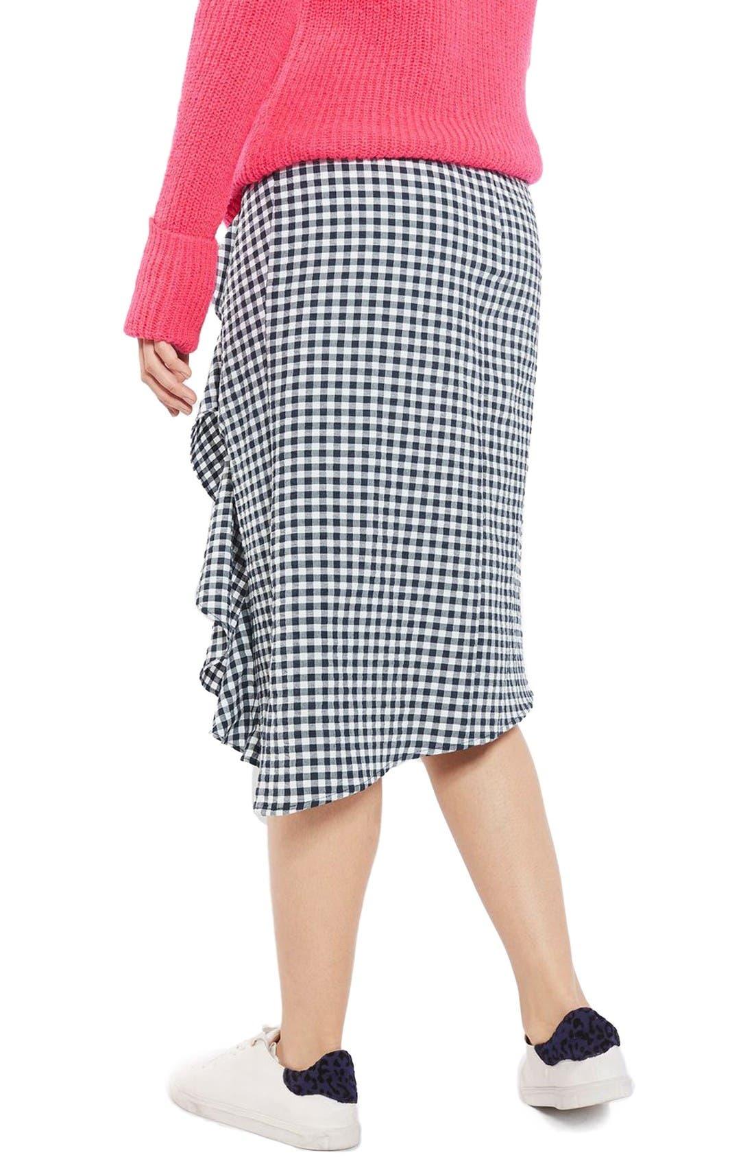 Alternate Image 3  - Topshop Ruffle Gingham Midi Skirt