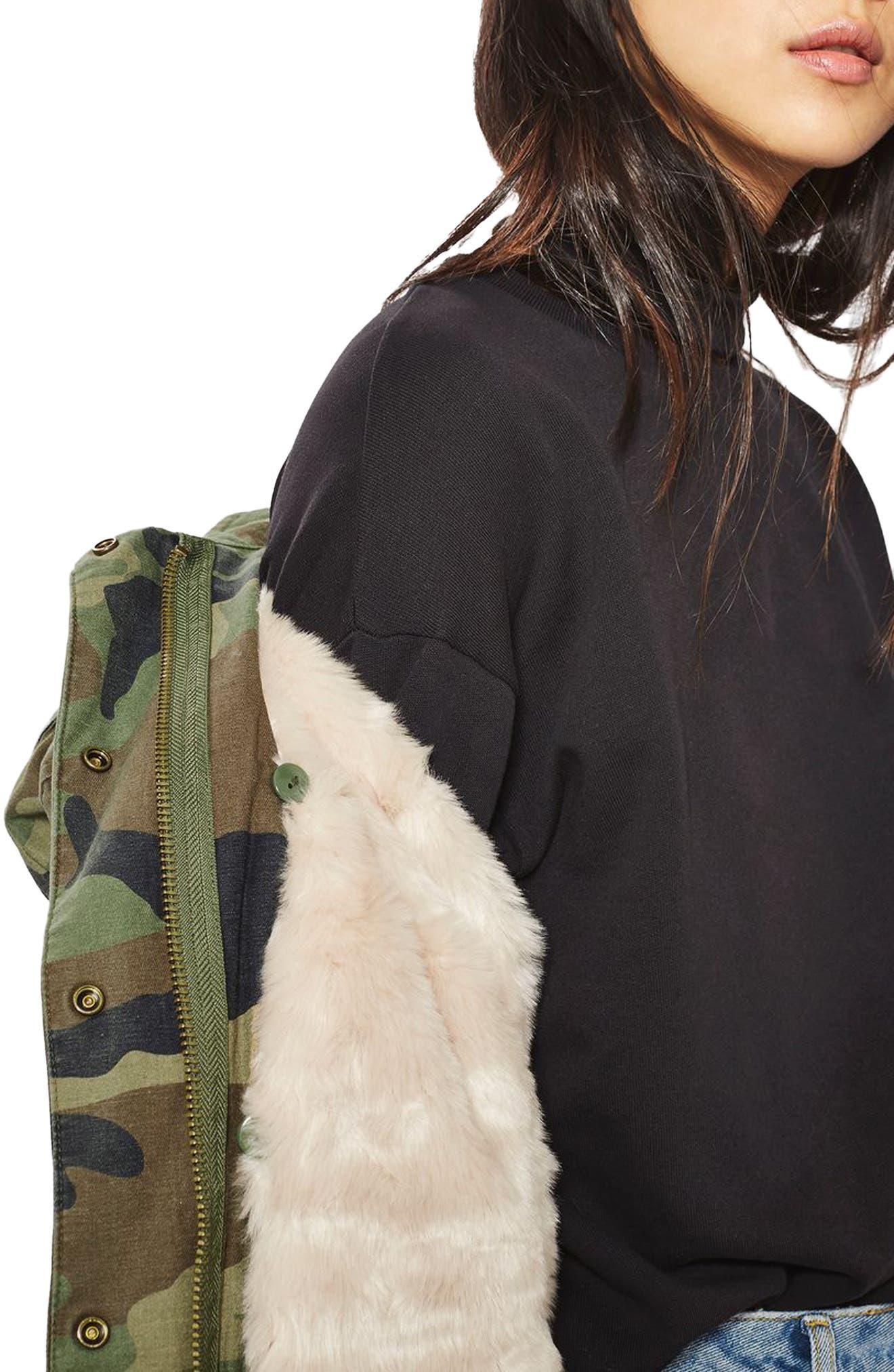Alternate Image 5  - Topshop Ben Faux Fur Lined Camo Jacket