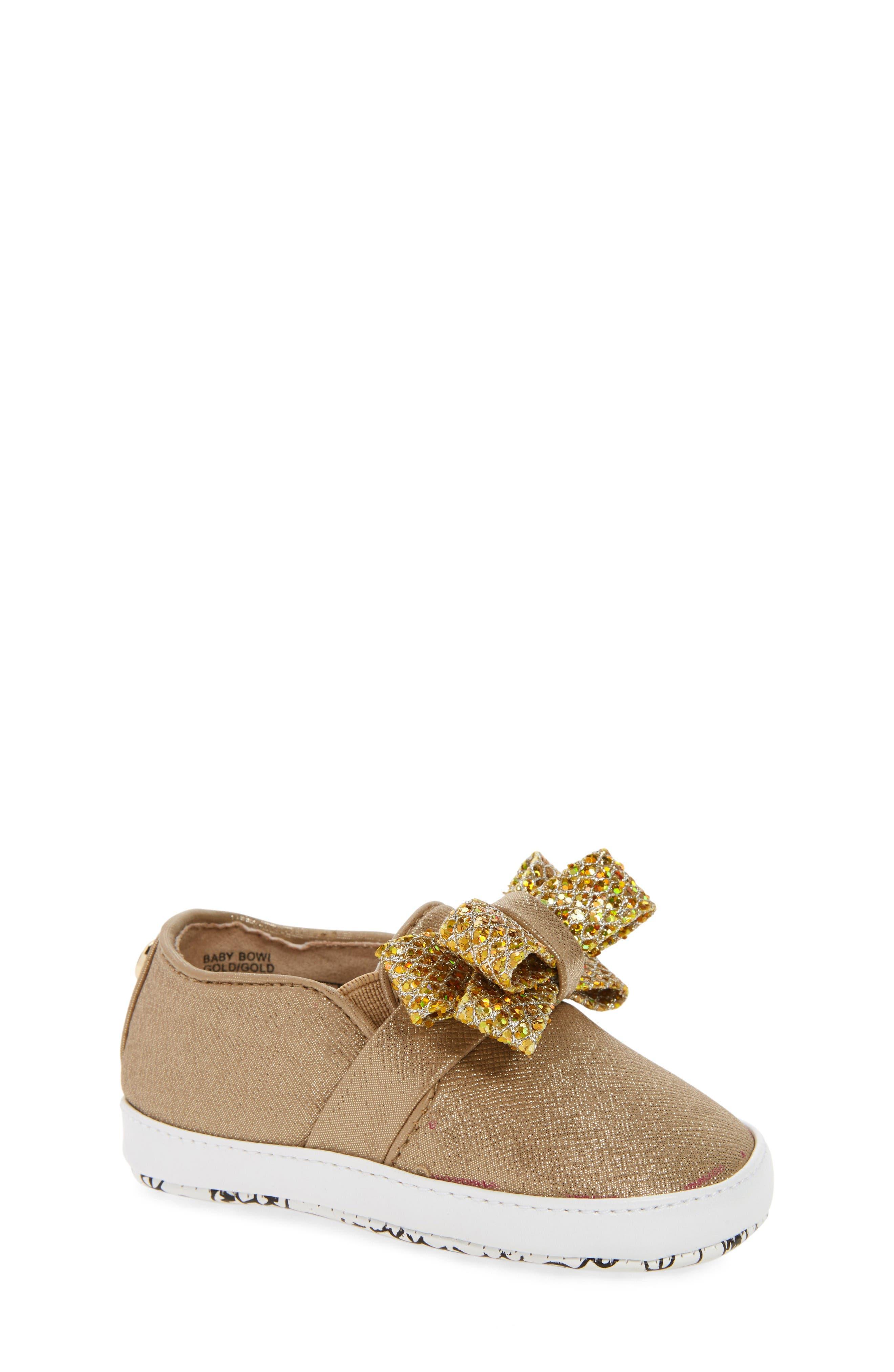 MICHAEL Michael Kors Baby Bowi Metallic Slip-On Crib Shoe (Baby)