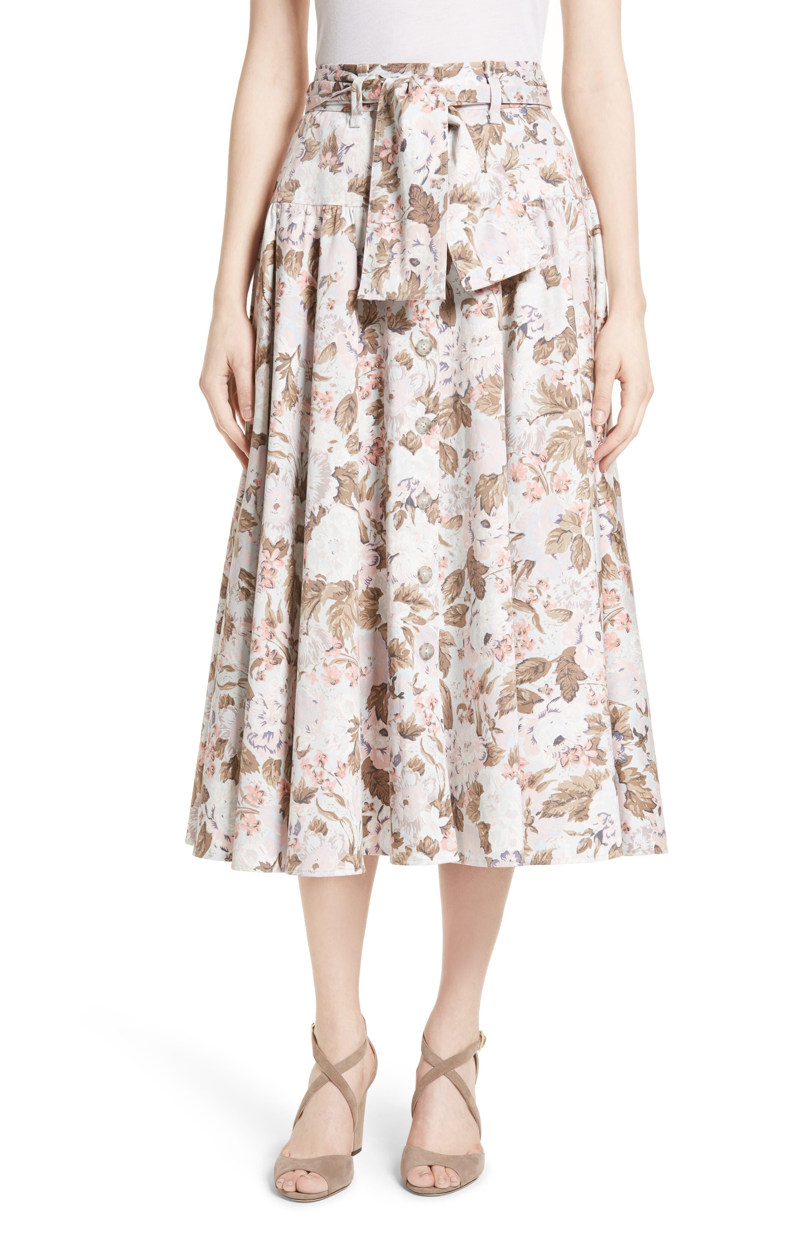 Rebecca Taylor Penelope Floral Midi Skirt