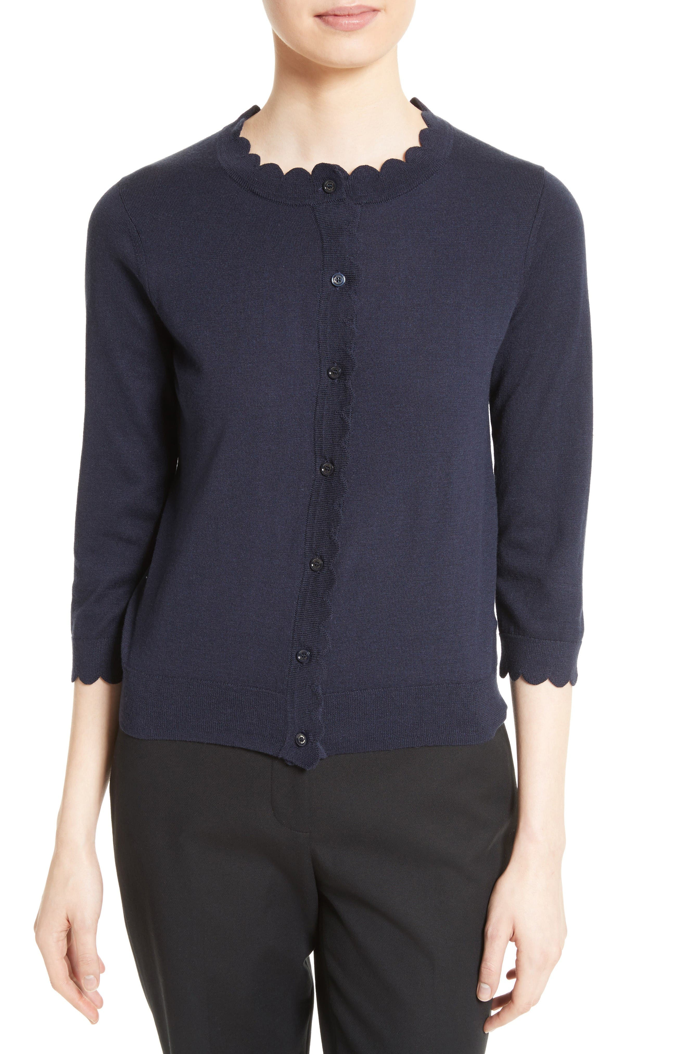 kate spade new york scallop silk blend cardigan