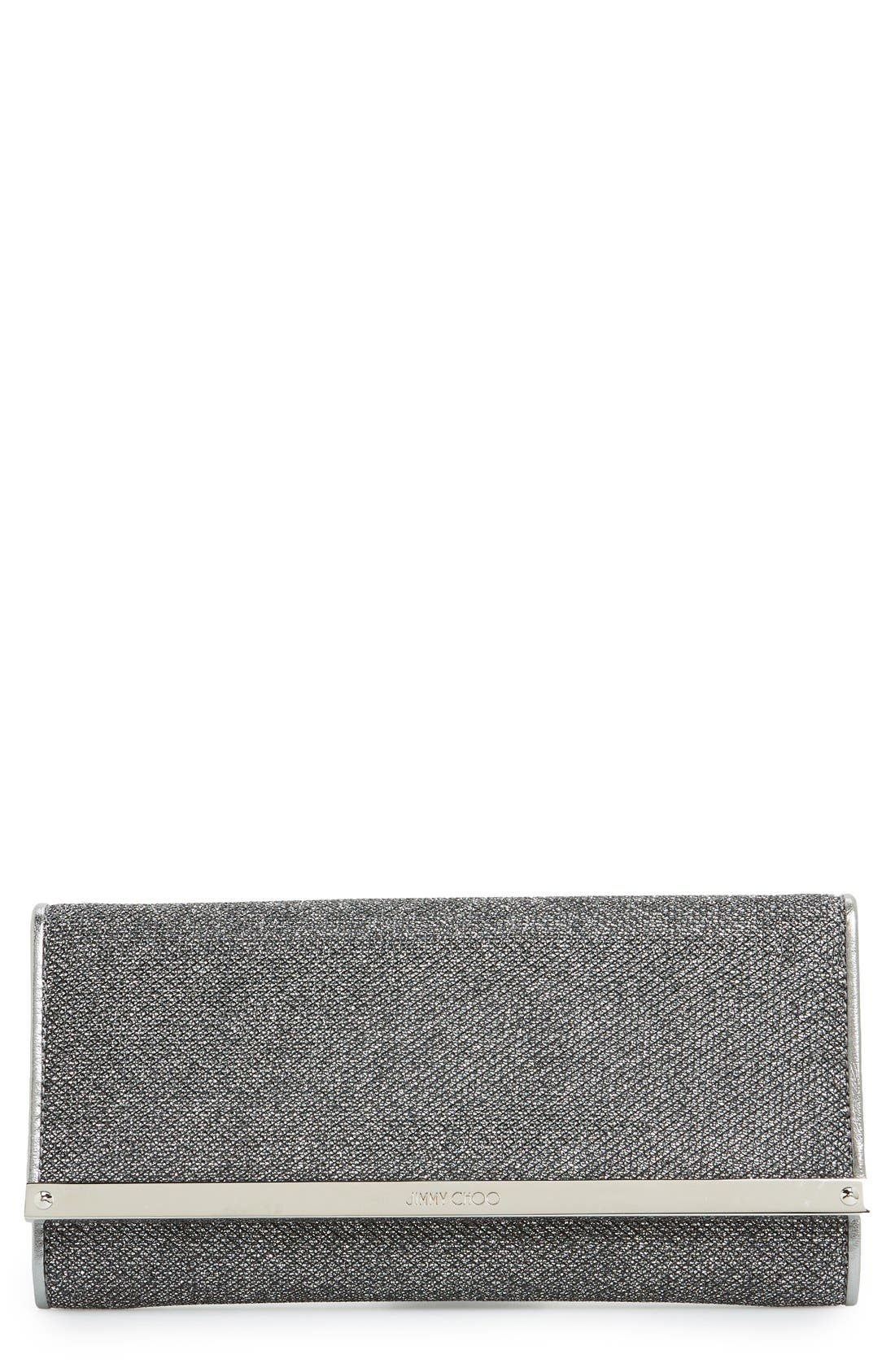 JIMMY CHOO 'Milla' Glitter Lamé Wallet on a