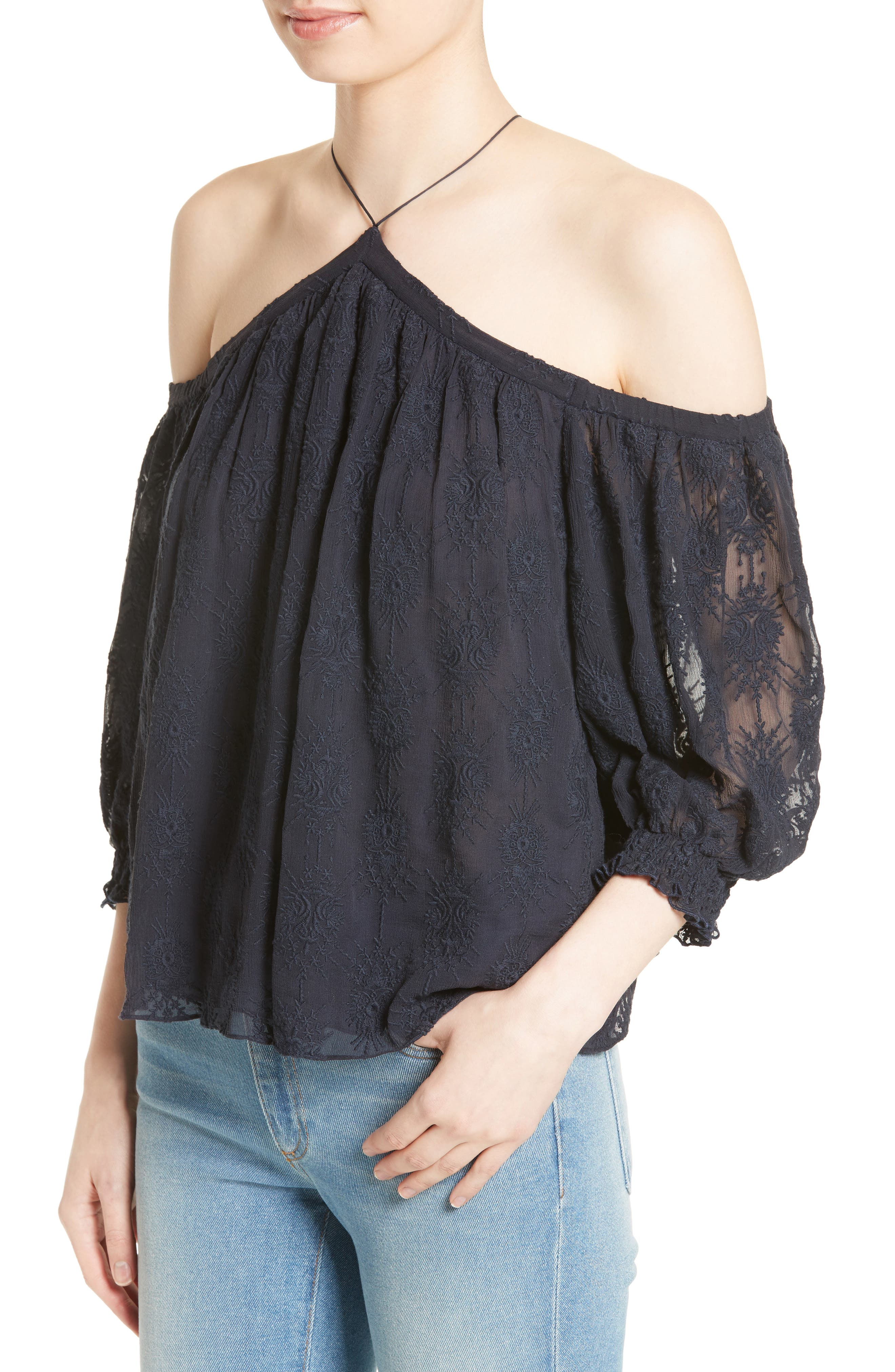 Alternate Image 4  - Rebecca Taylor Cold Shoulder Silk Blouse