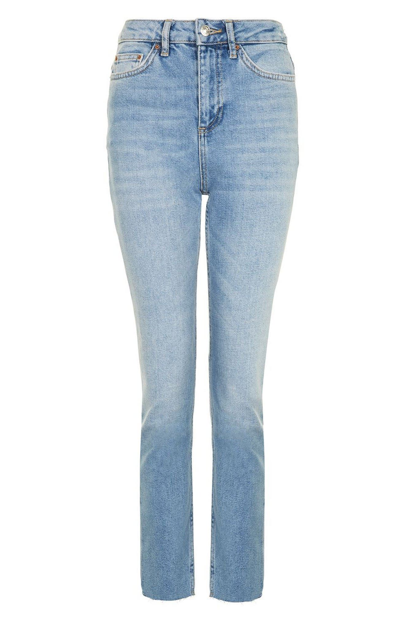 Alternate Image 4  - Topshop Raw Hem Straight Leg Jeans