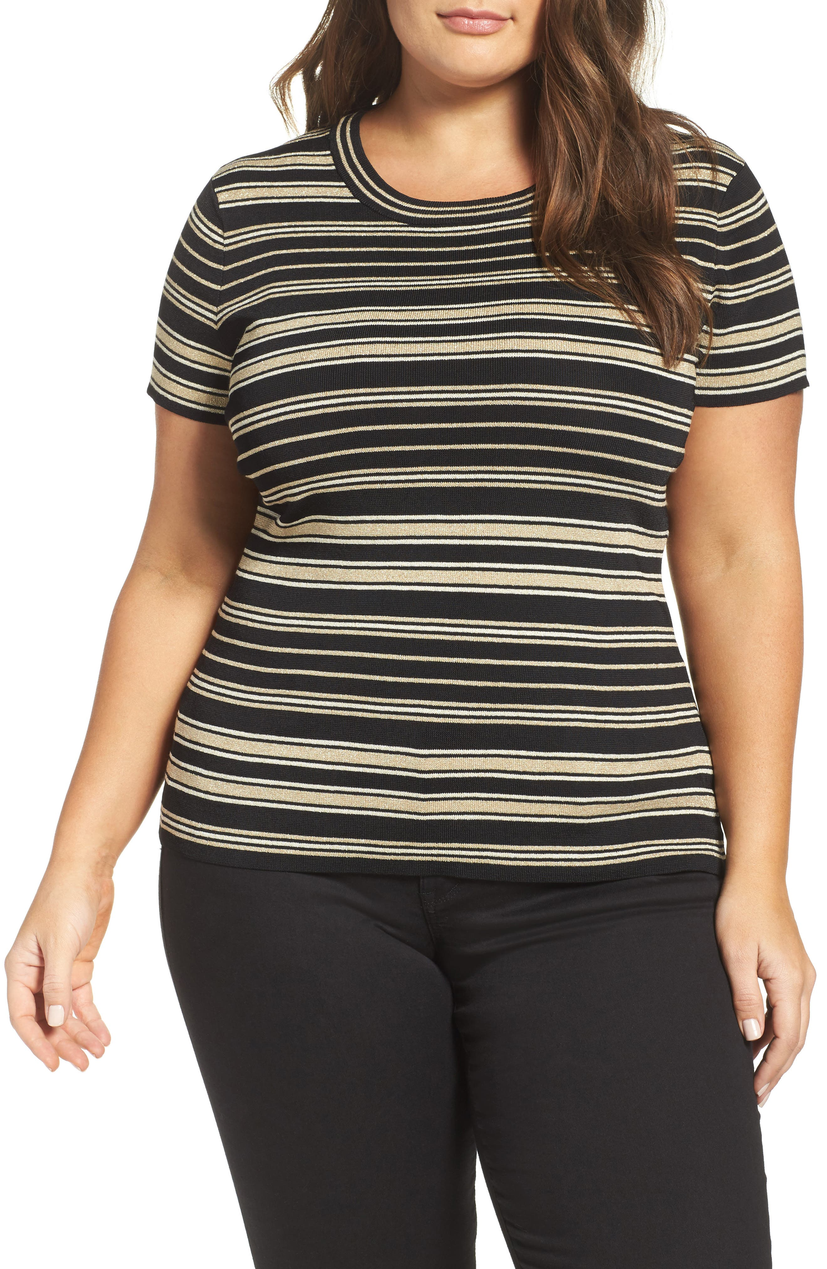 Rachel Roy Stripe Sweater Knit Tee (Plus Size)