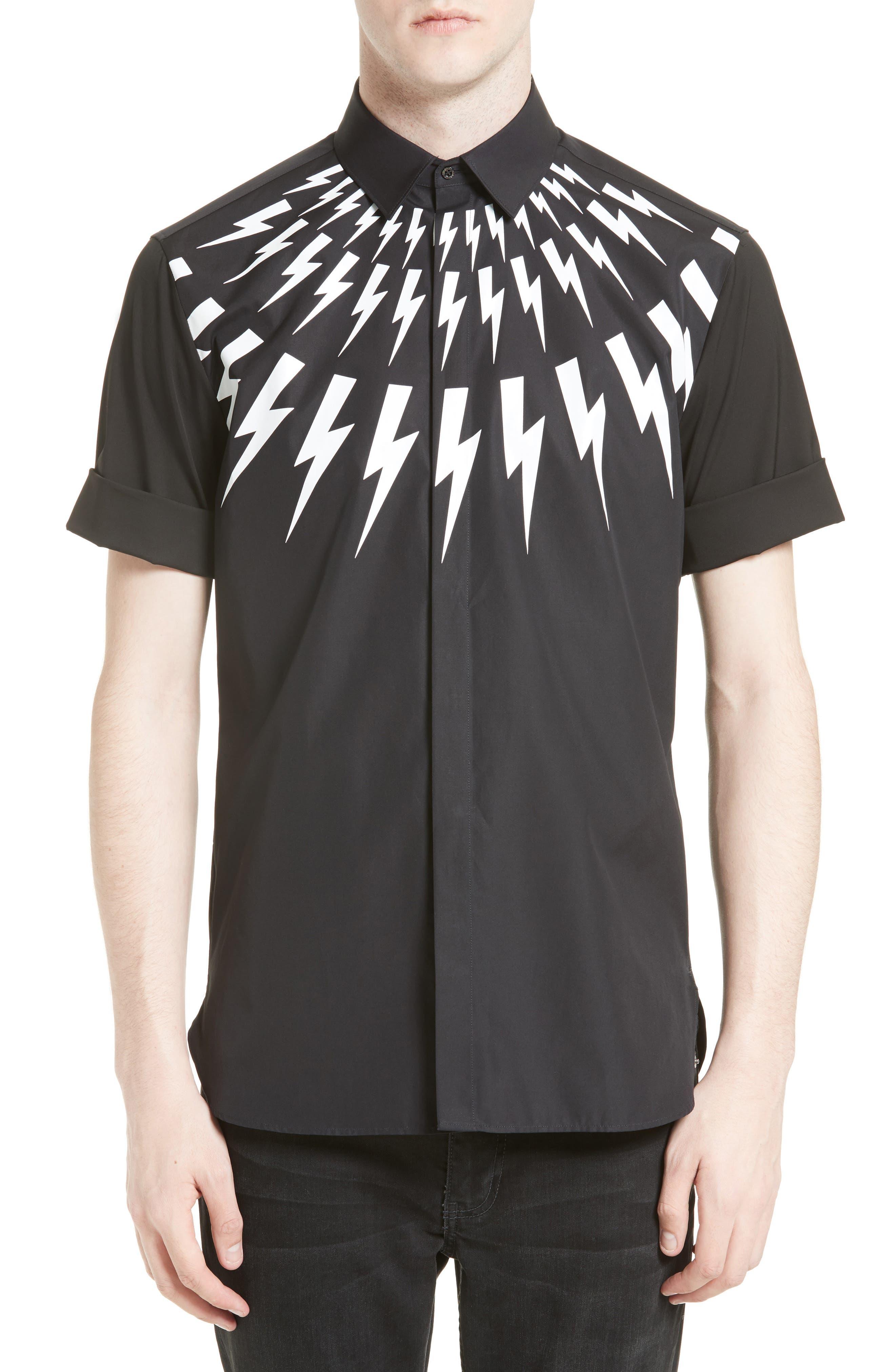 NEIL BARRETT Slim Fit Thunderbolt Graphic Sport Shirt