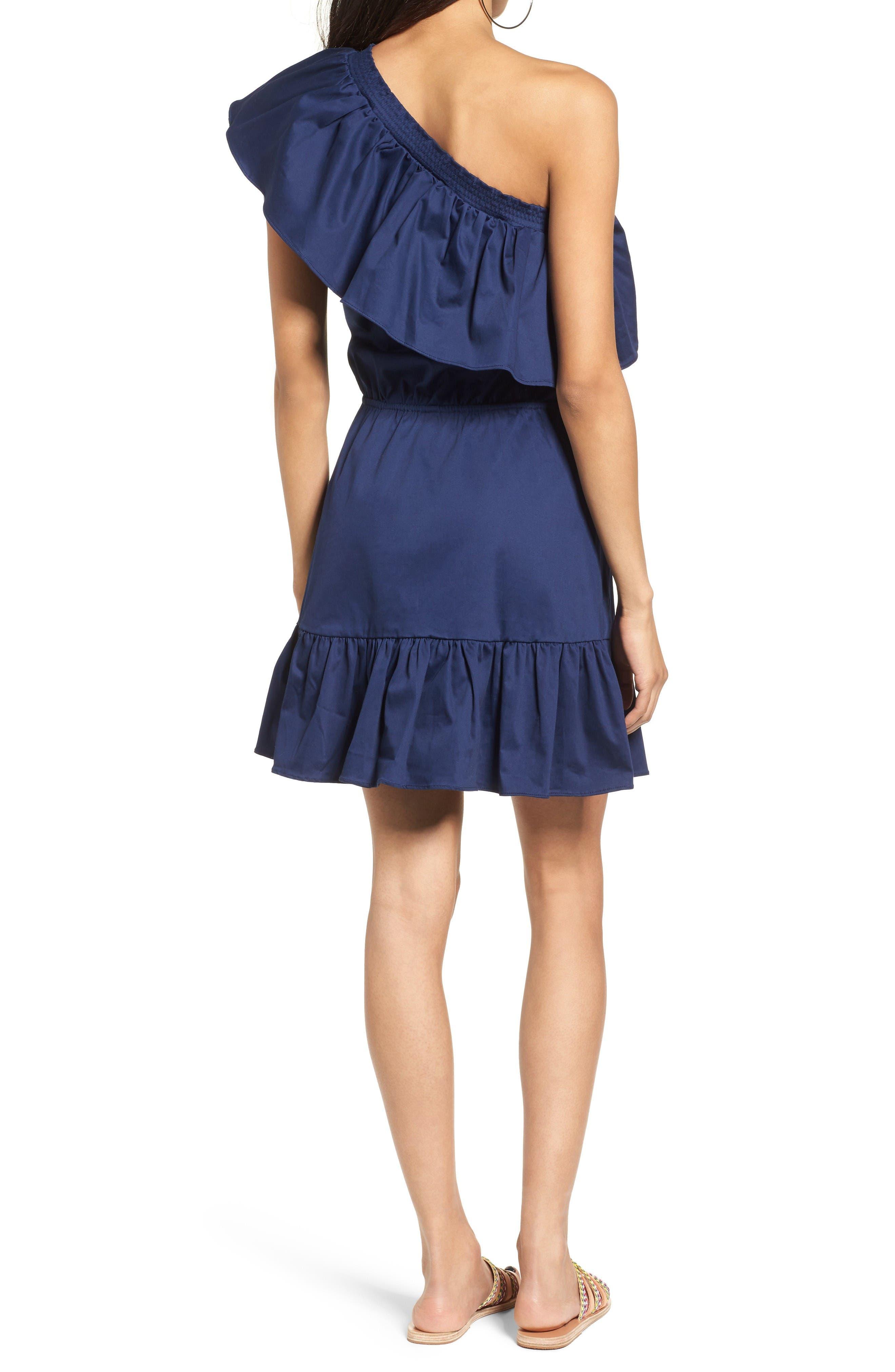 Alternate Image 2  - devlin Thea One-Shoulder Fit & Flare Dress