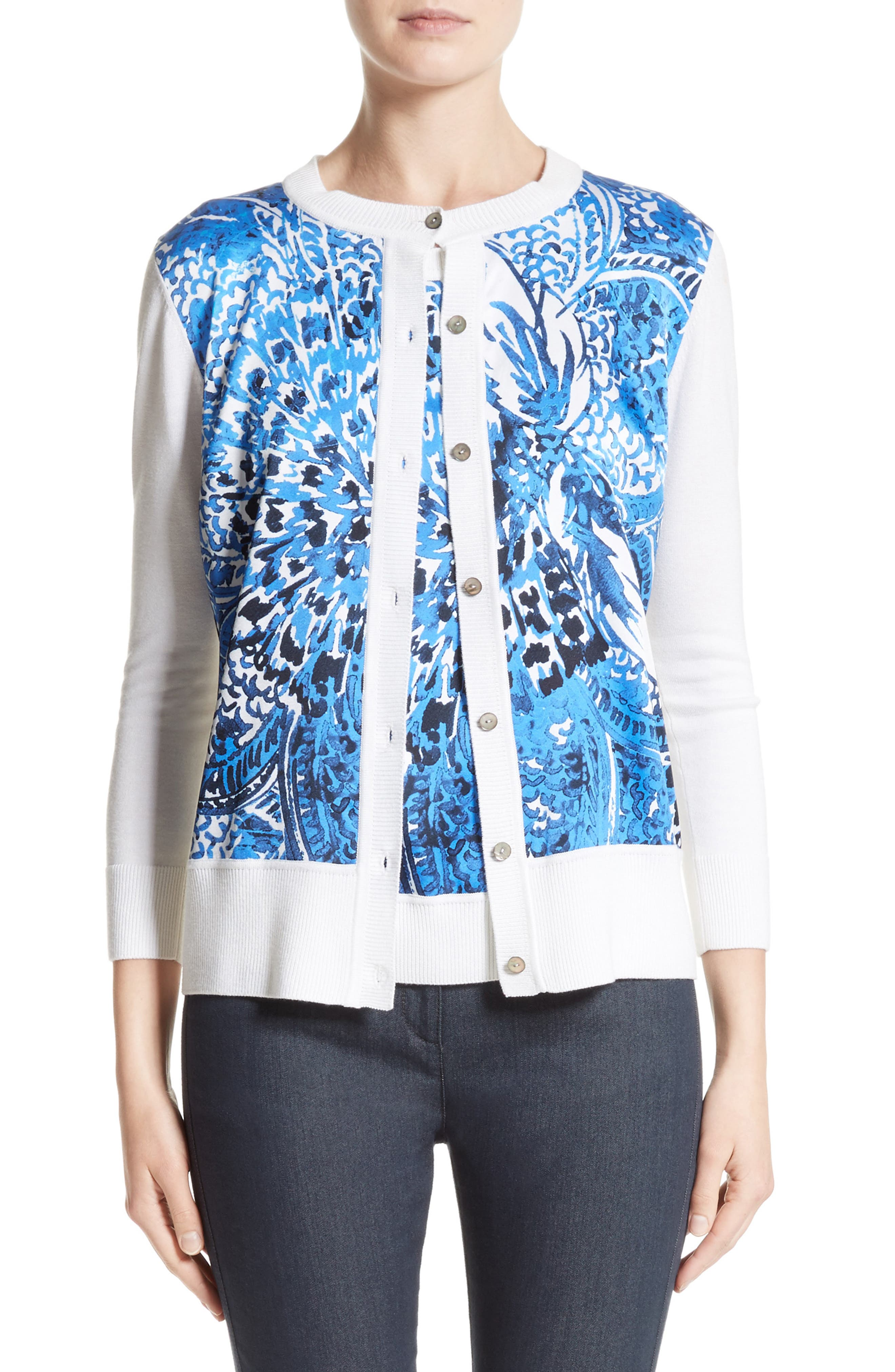 St. John Collection Lotus Blossom Print Cardigan