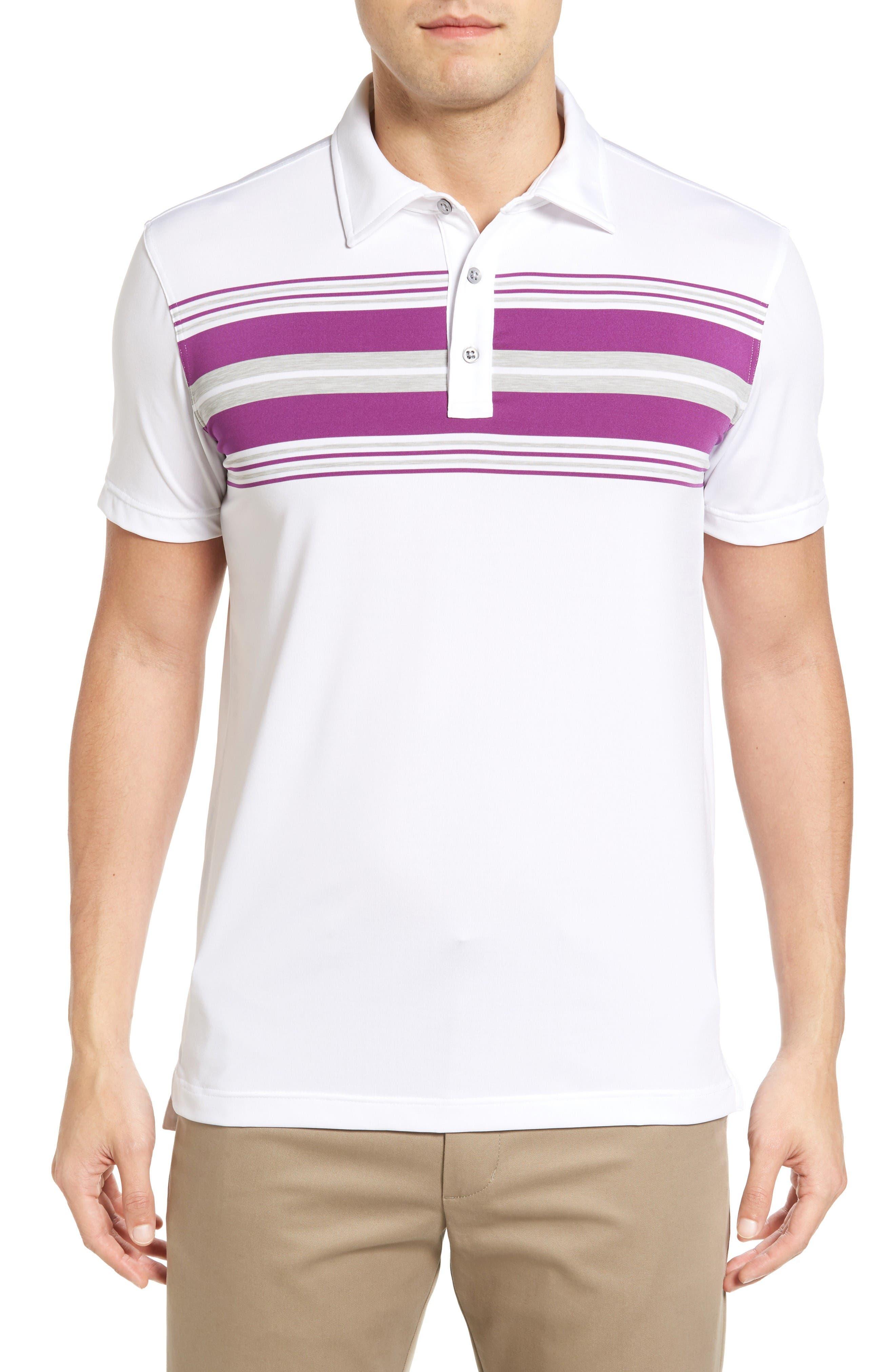 Bobby Jones Marvel Tech Chest Stripe Golf Polo