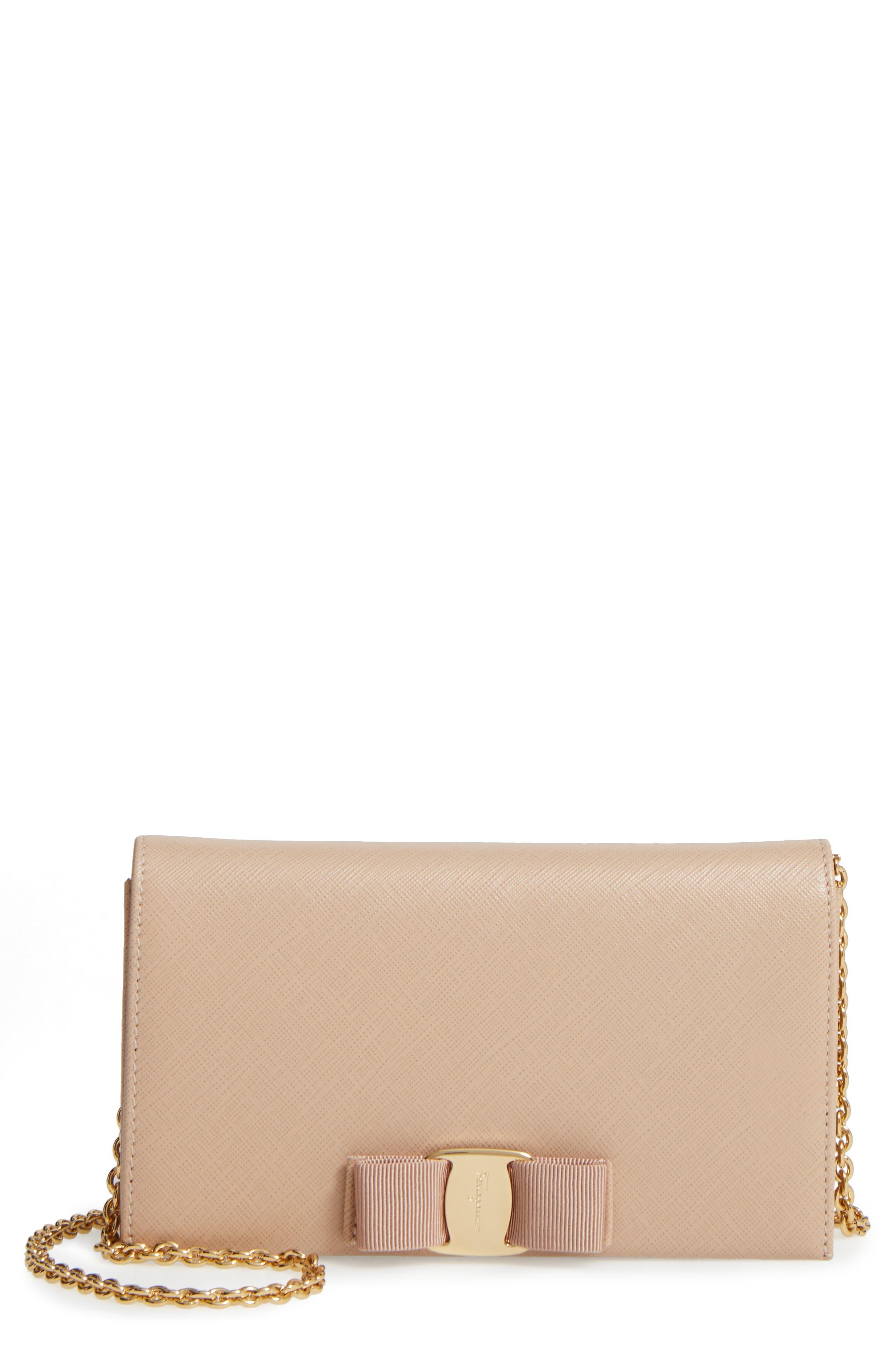 Salavatore Ferragamo 'Miss Vara' Leather Wallet on a Chain