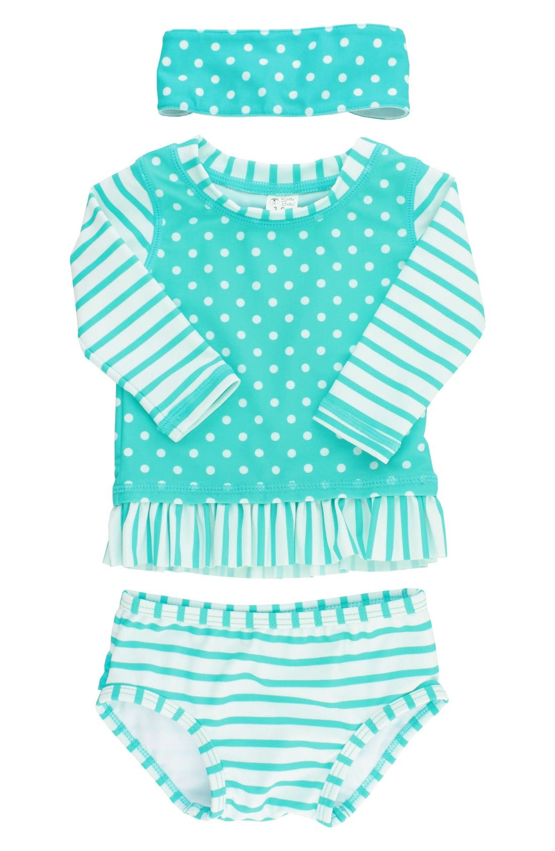 RuffleButts Two-Piece Rashguard Swimsuit & Head Wrap Set (Baby Girls)