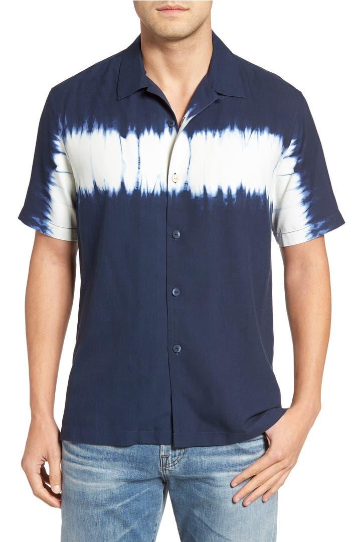 Tommy bahama shibori nights standard fit silk camp shirt for Tommy bahama short sleeve silk camp shirt