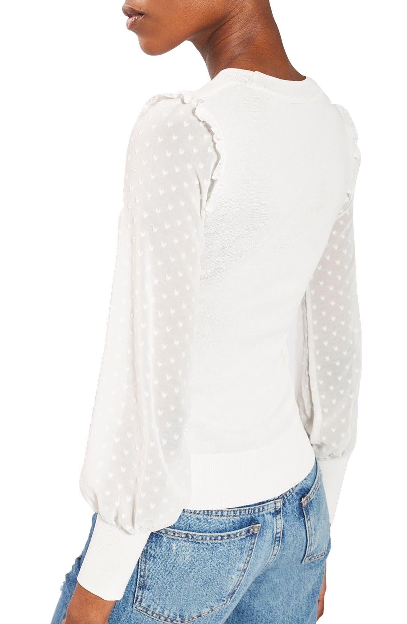 Alternate Image 3  - Topshop Chiffon Sleeve Sweater