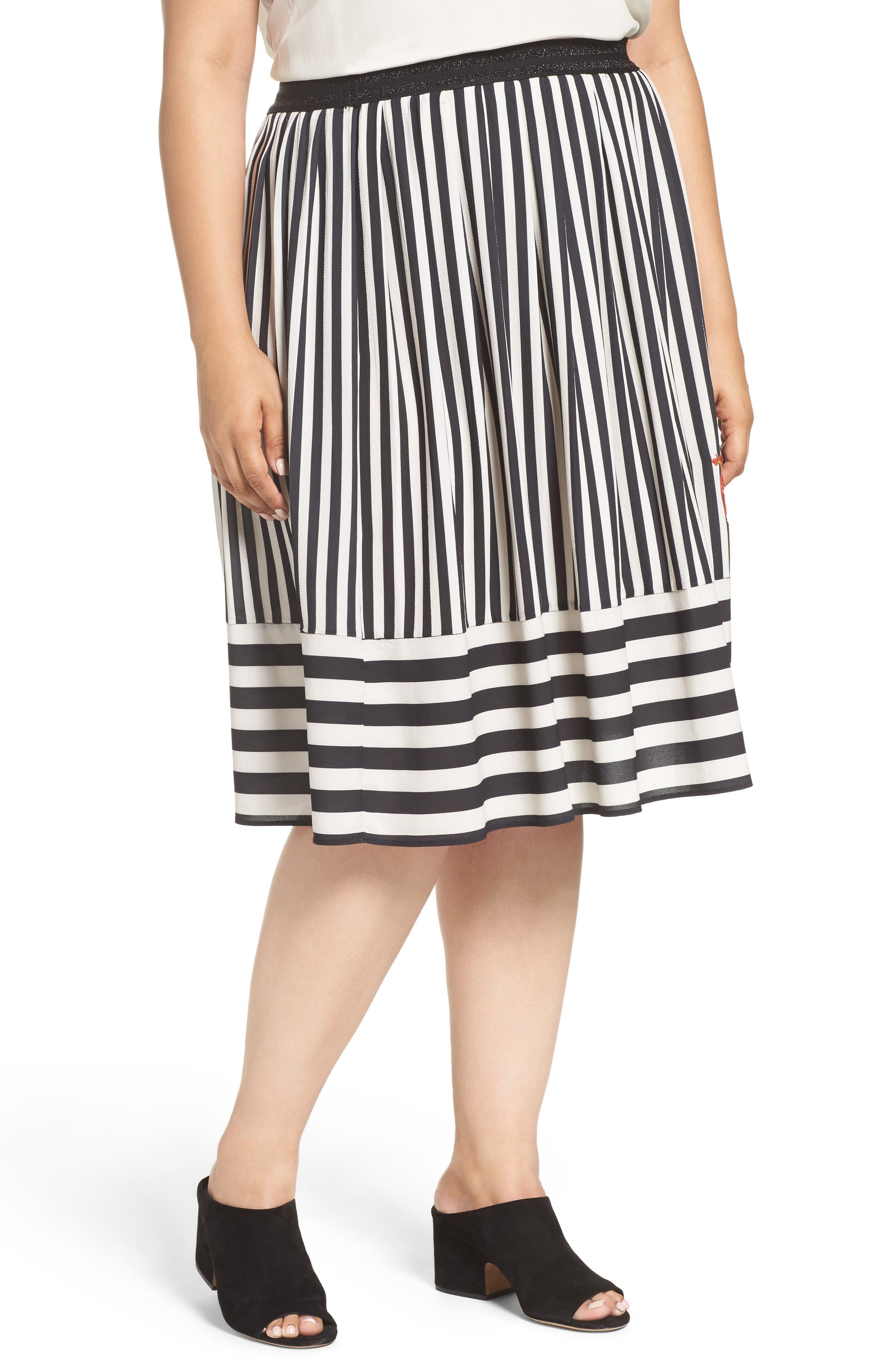 ELVI Stripe Midi Skirt
