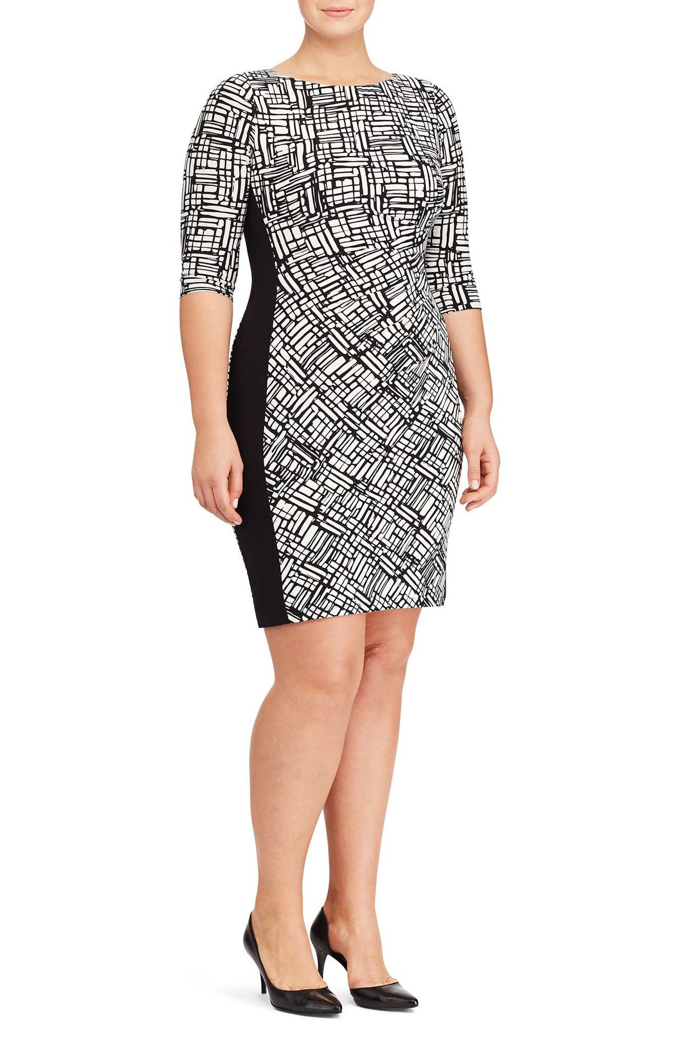 Lauren Ralph Lauren Print Jersey Sheath Dress (Plus Size)