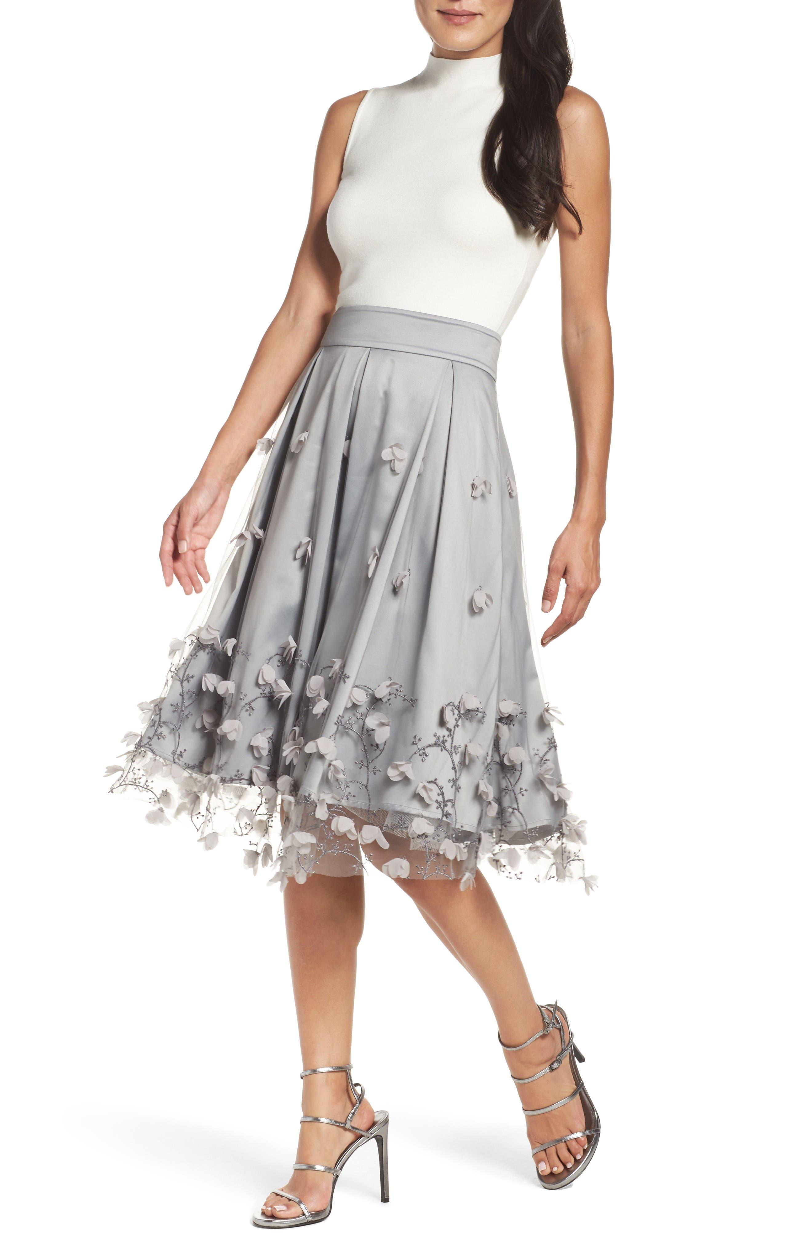 Alternate Image 7  - Eliza J Floral Appliqué Ball Skirt