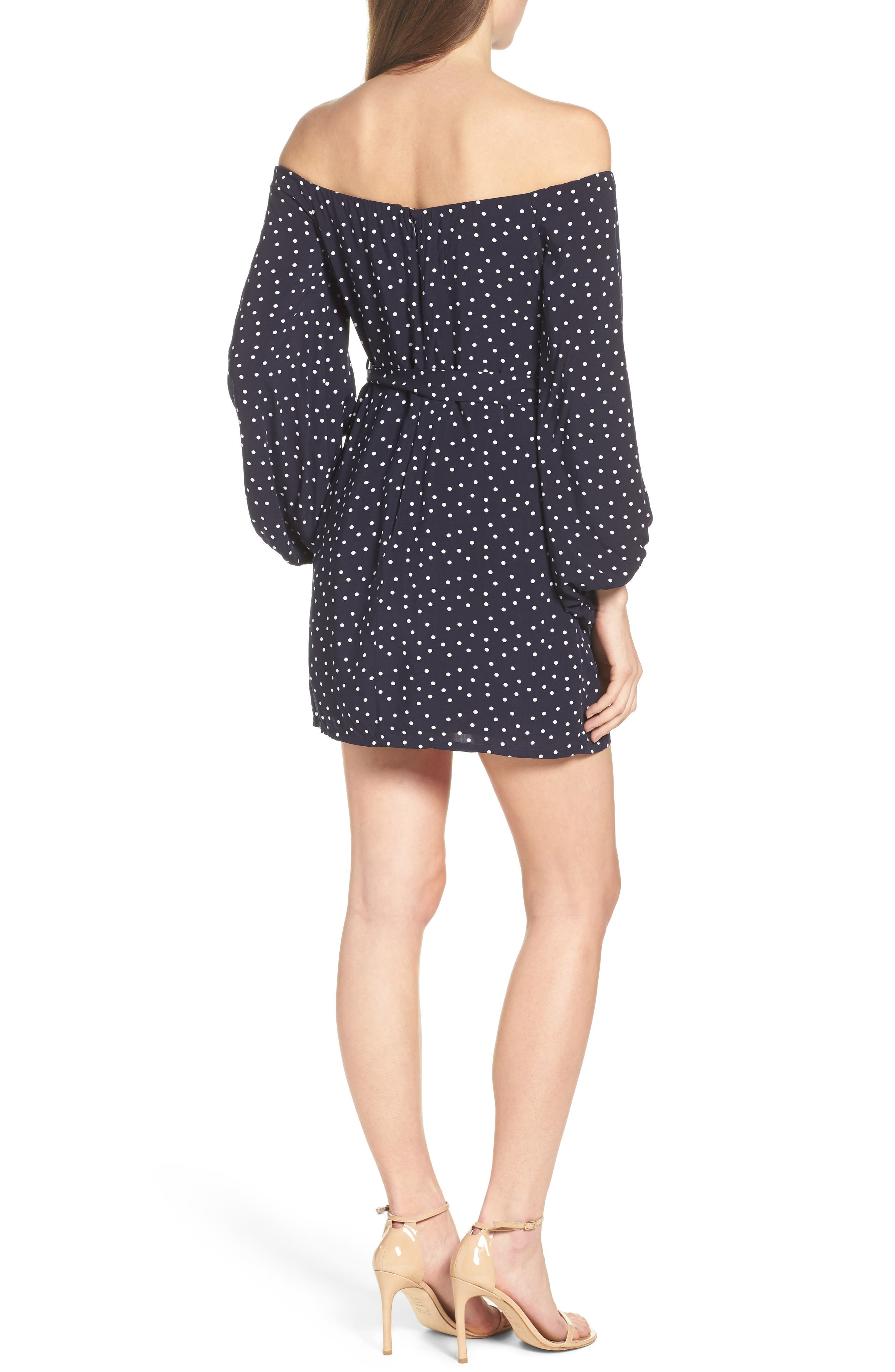Alternate Image 2  - Bardot Polka Dot Off the Shoulder Dress