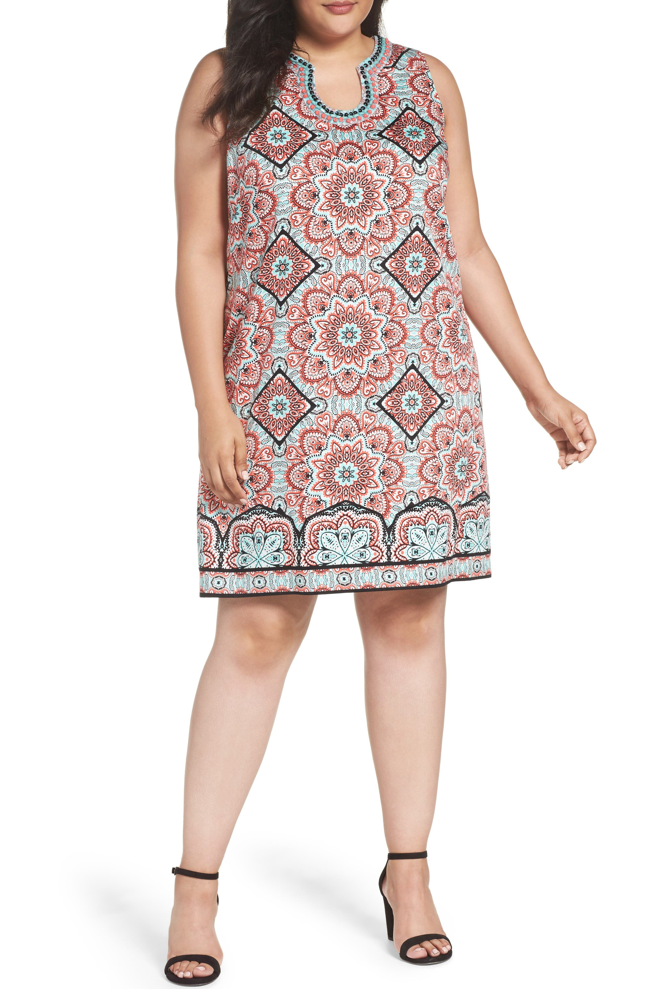 London Times Star Tile Shift Dress (Plus Size)