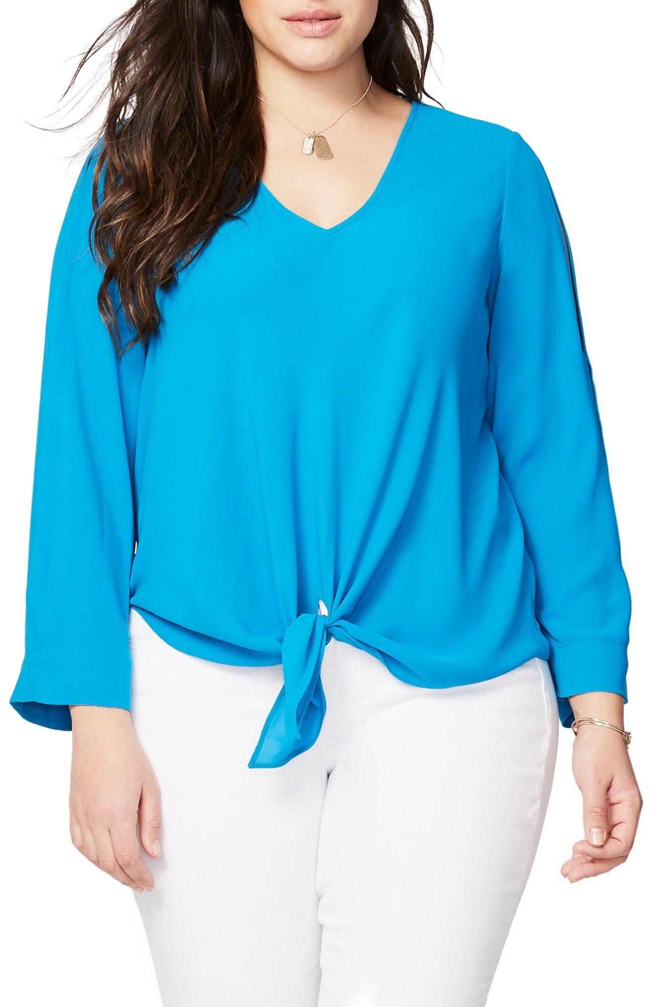 RACHEL Rachel Roy Tie Front Blouse (Plus Size)