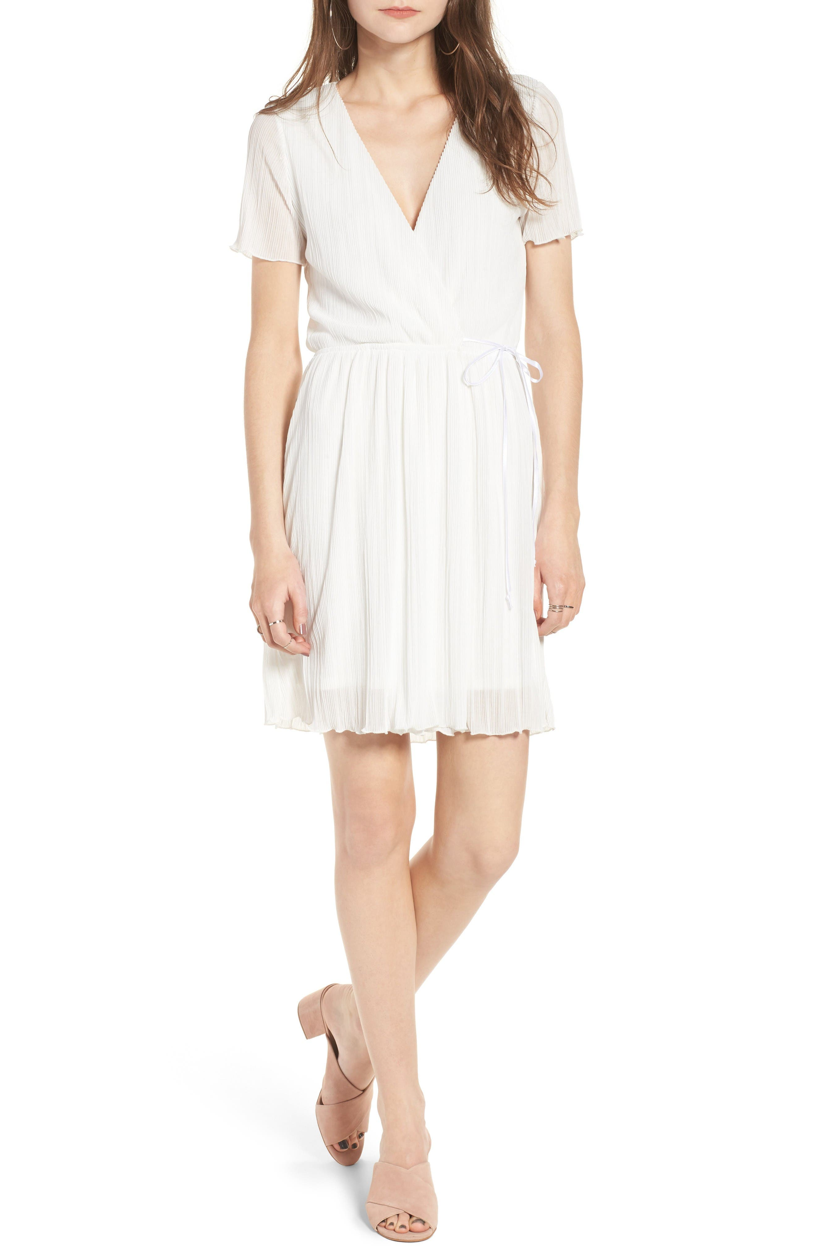 Main Image - Leith Pleat Surplice Wrap Dress