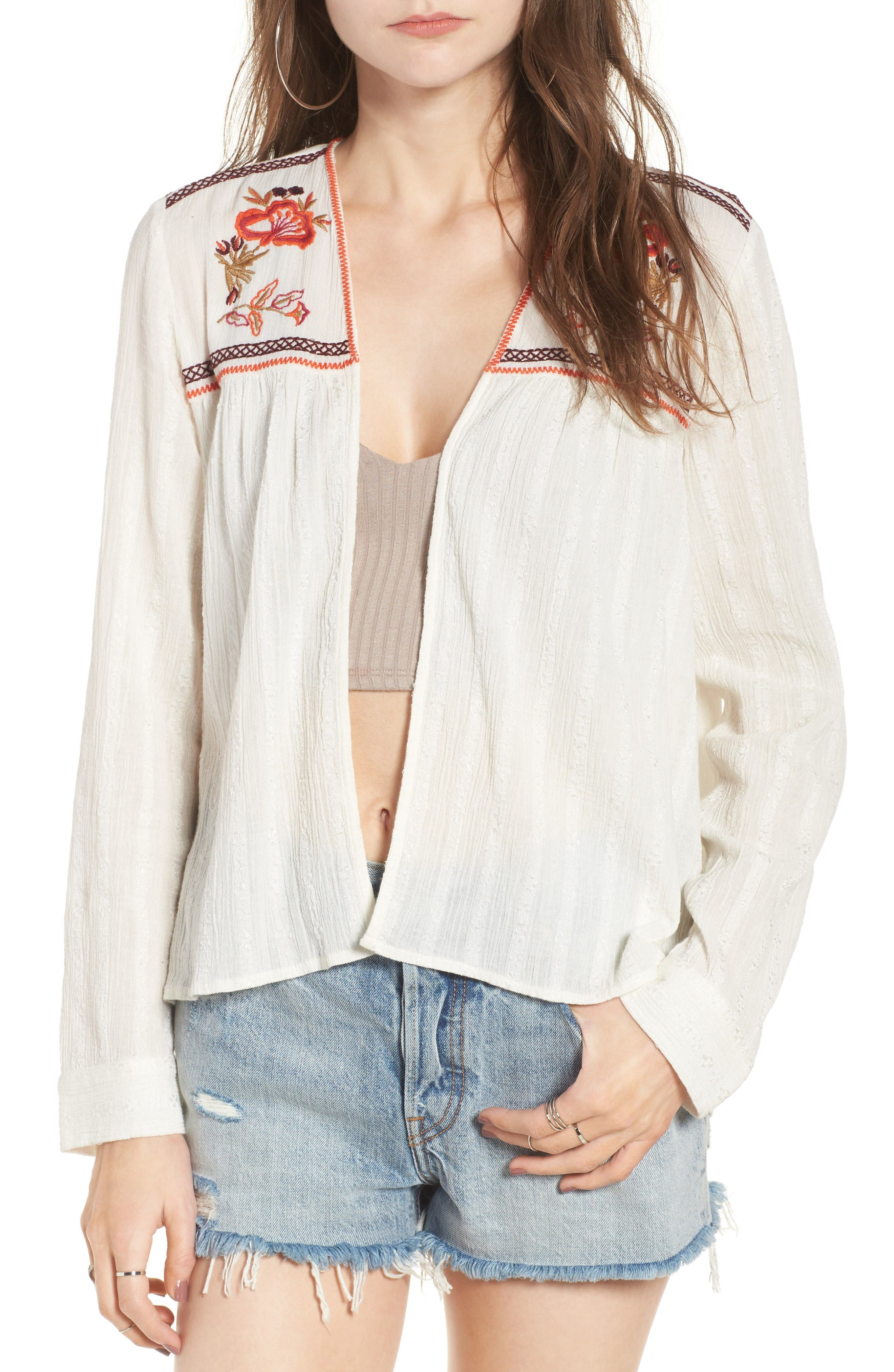 Sun & Shadow Embroidered Gauze Jacket