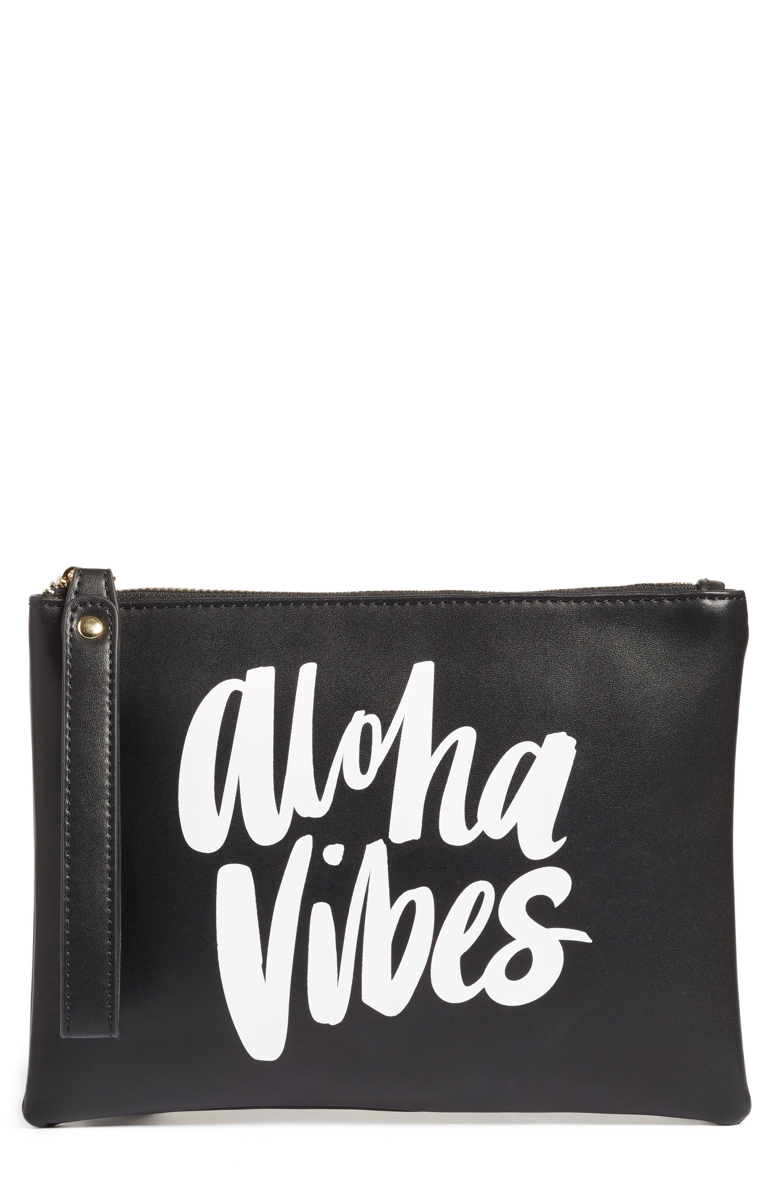 ki-ele Aloha Vibes Faux Leather Wristlet