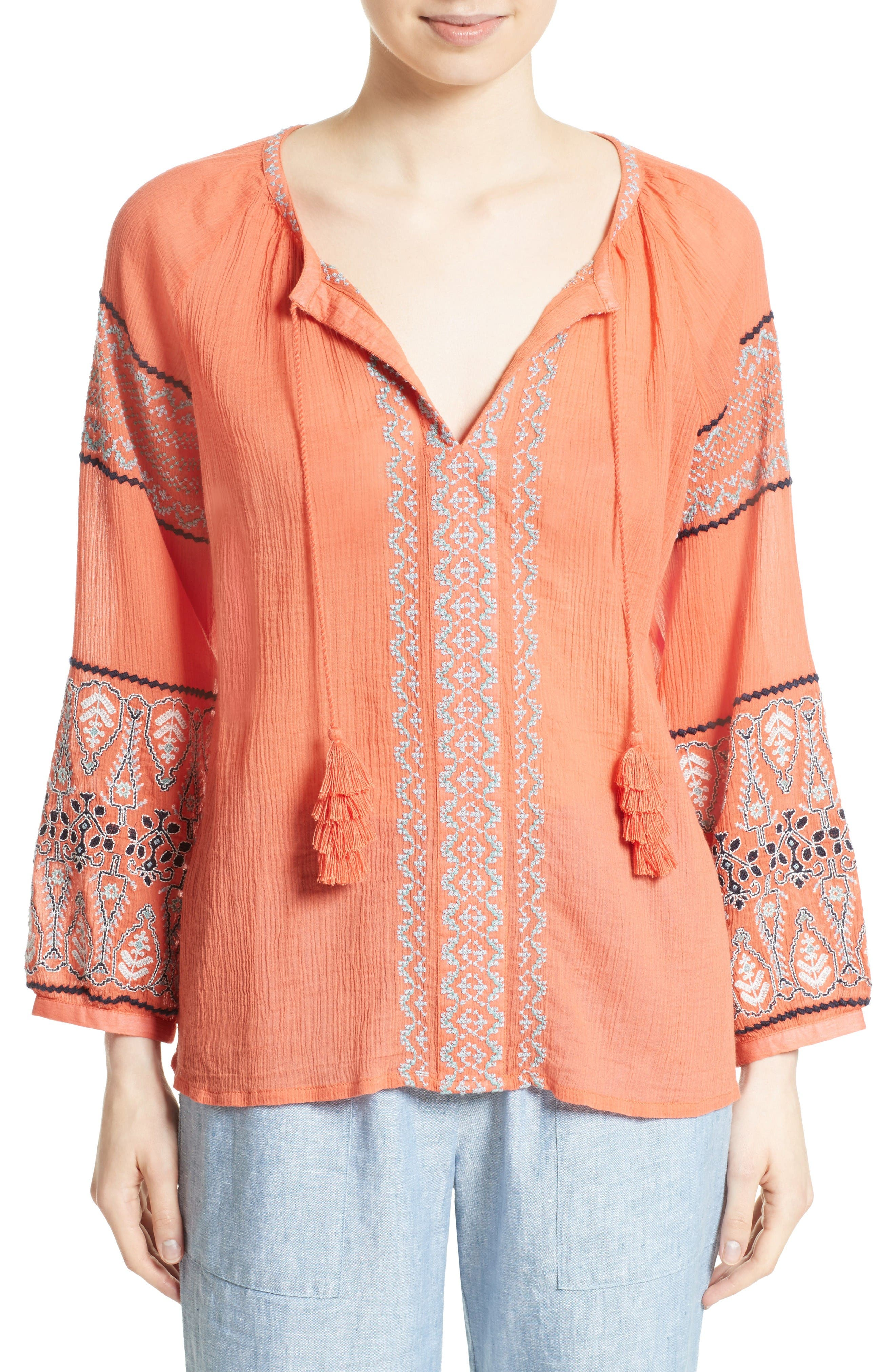 Alternate Image 1 Selected - Joie Nelida Embroidered Cotton Blouse