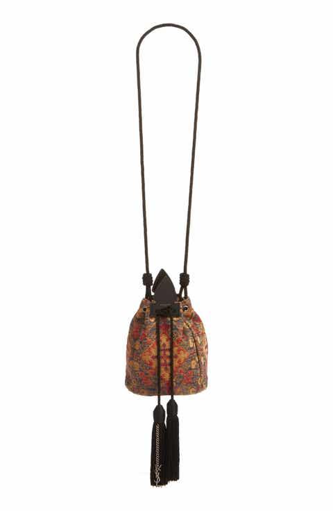 Saint Laurent Small Anja Tapestry Bucket Bag