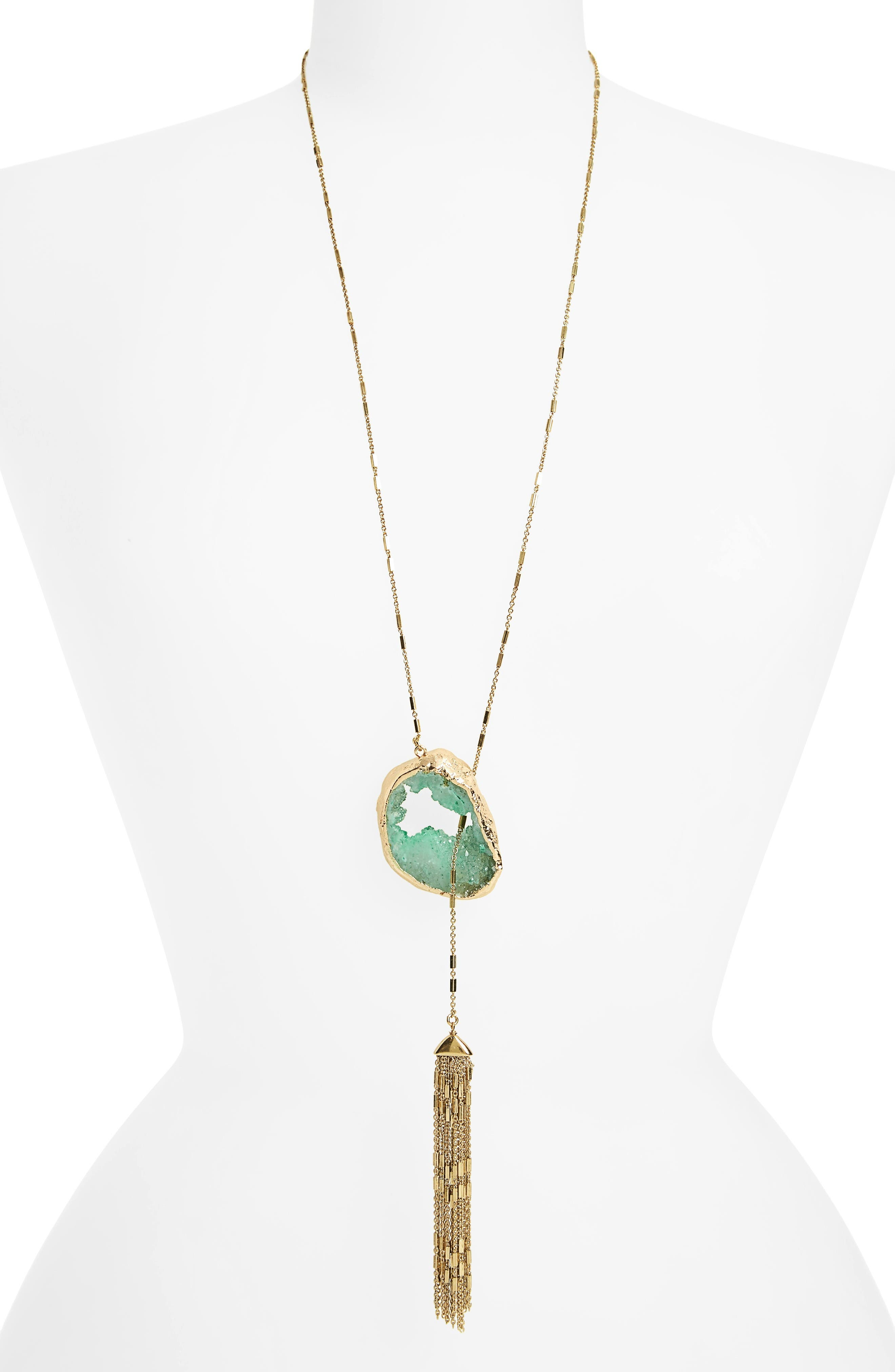 Treasure & Bond Drusy Lariat Necklace